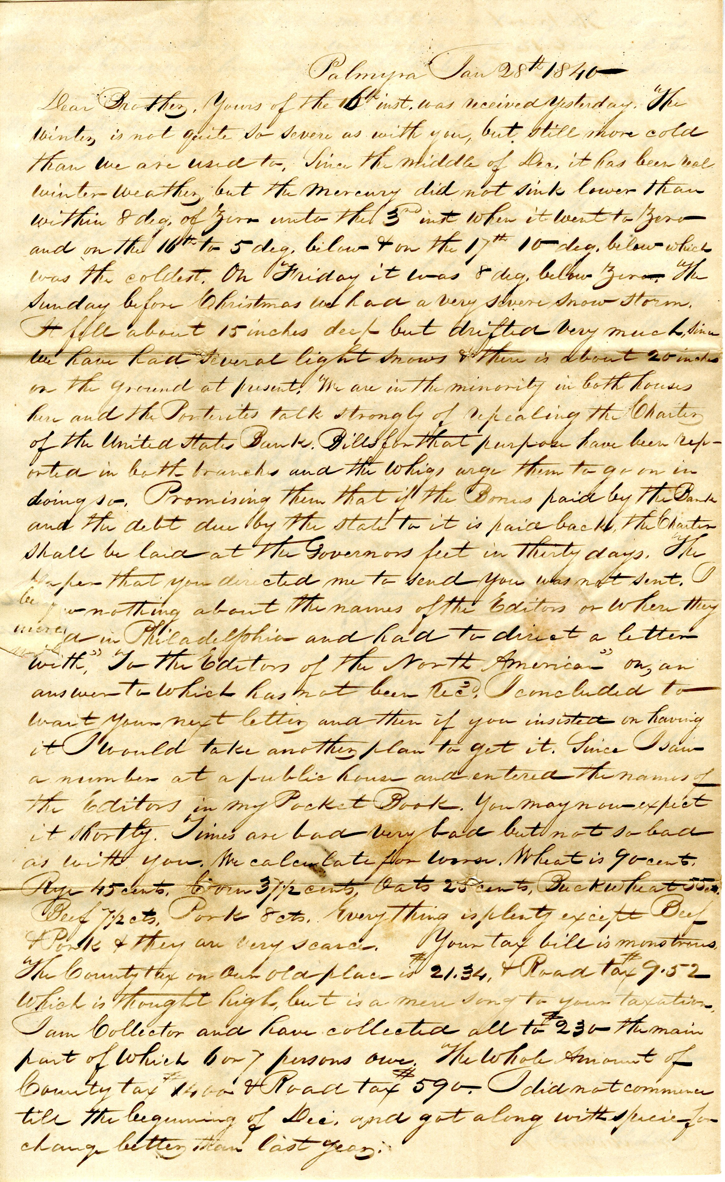 Letter From William Geddes to John Geddes, January 28, 1840 image