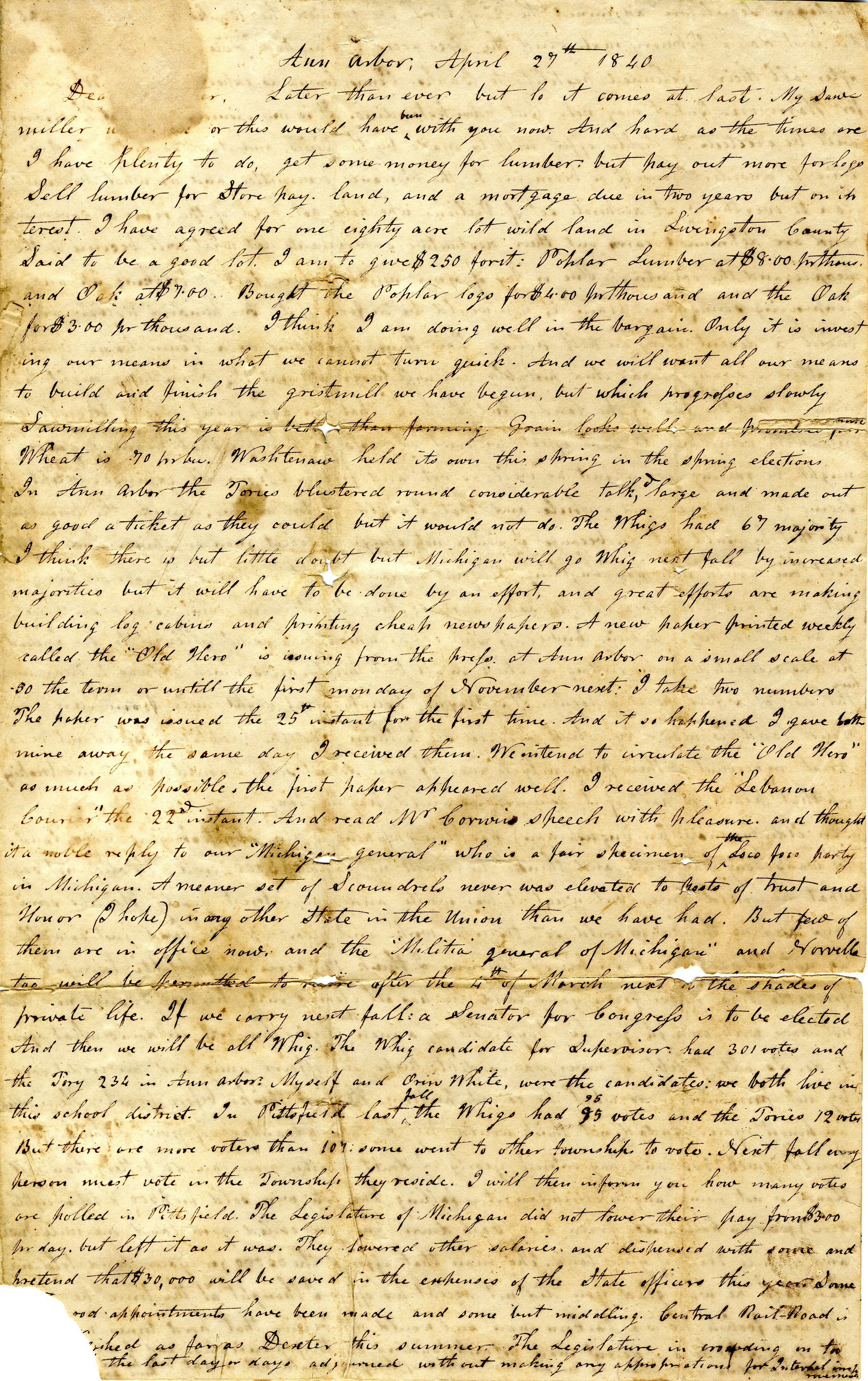 Letter From John Geddes to William Geddes, April 27, 1840 image