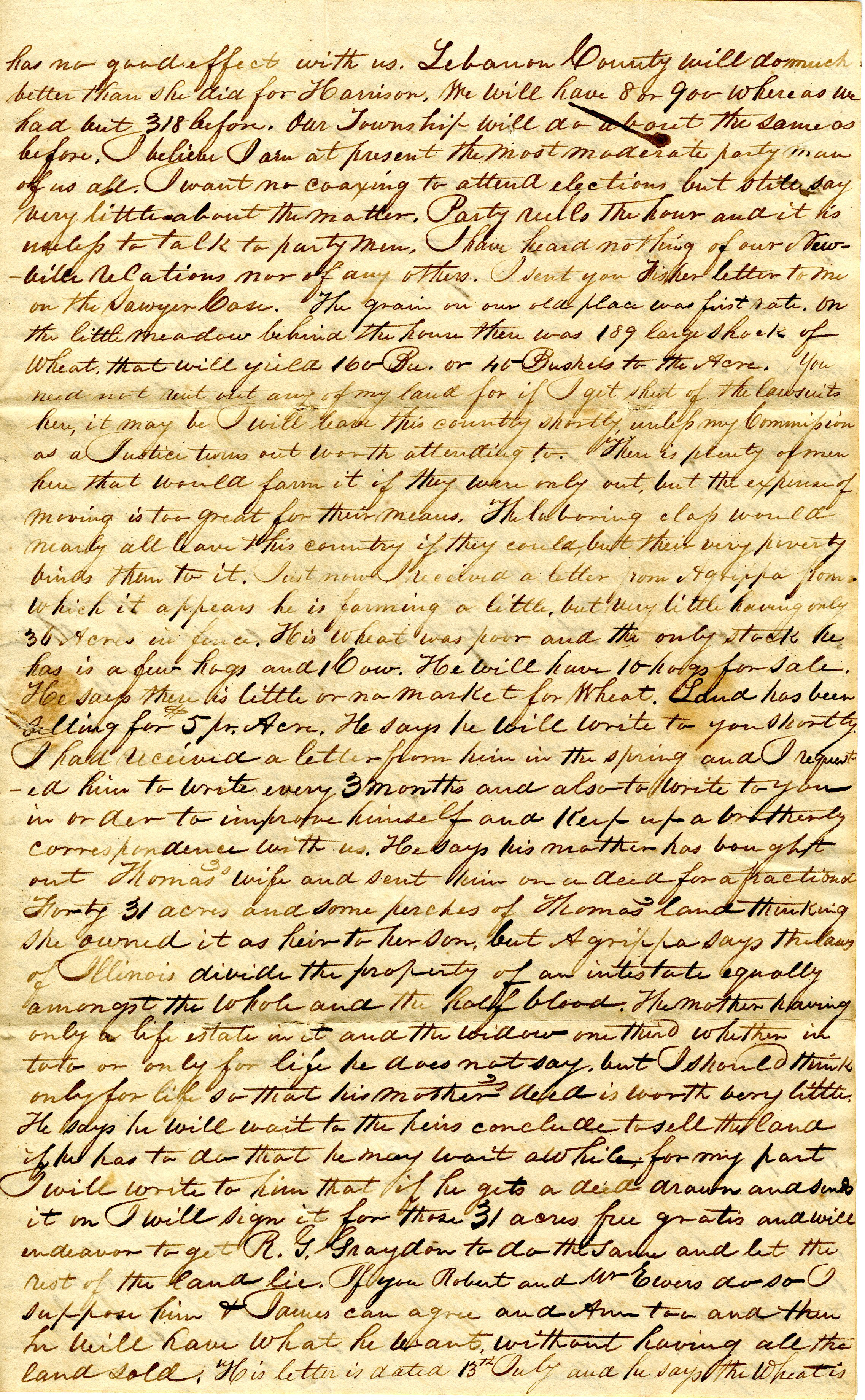 Letter From William Geddes to John Geddes, July 31, 1840 image