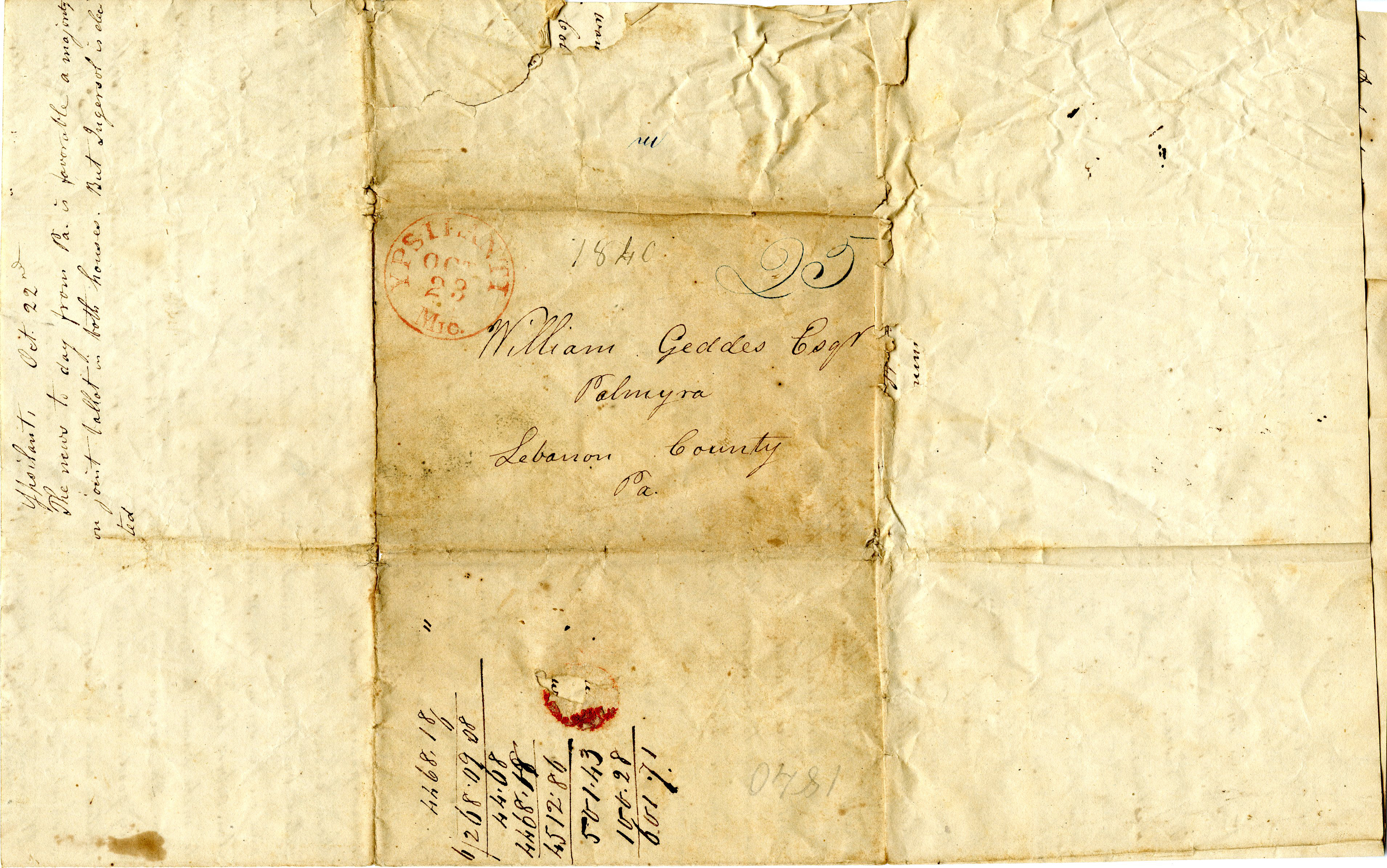 Letter From John Geddes to William Geddes, October 14-21, 1840 image