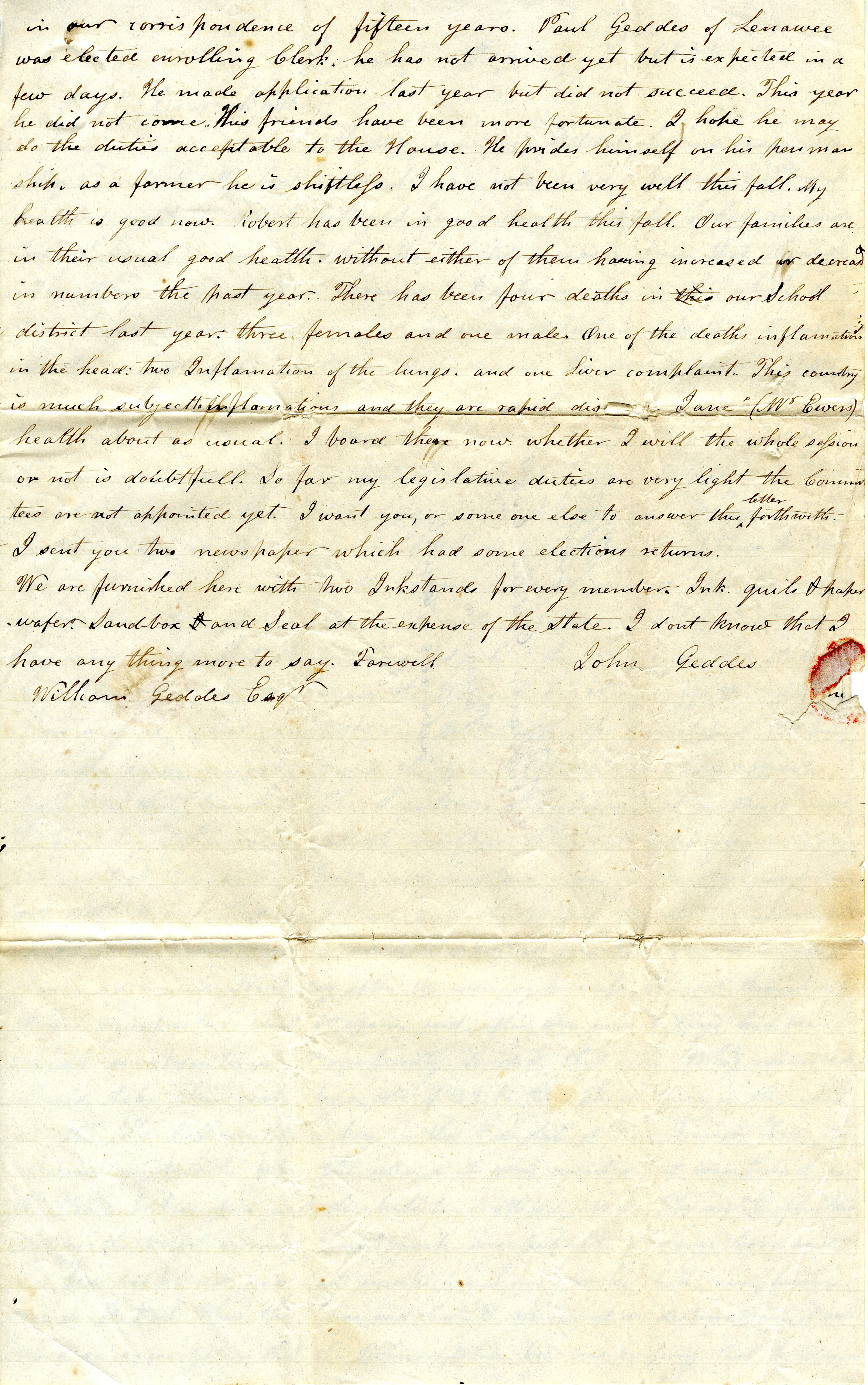 Letter From John Geddes to William Geddes, January 7, 1841 image