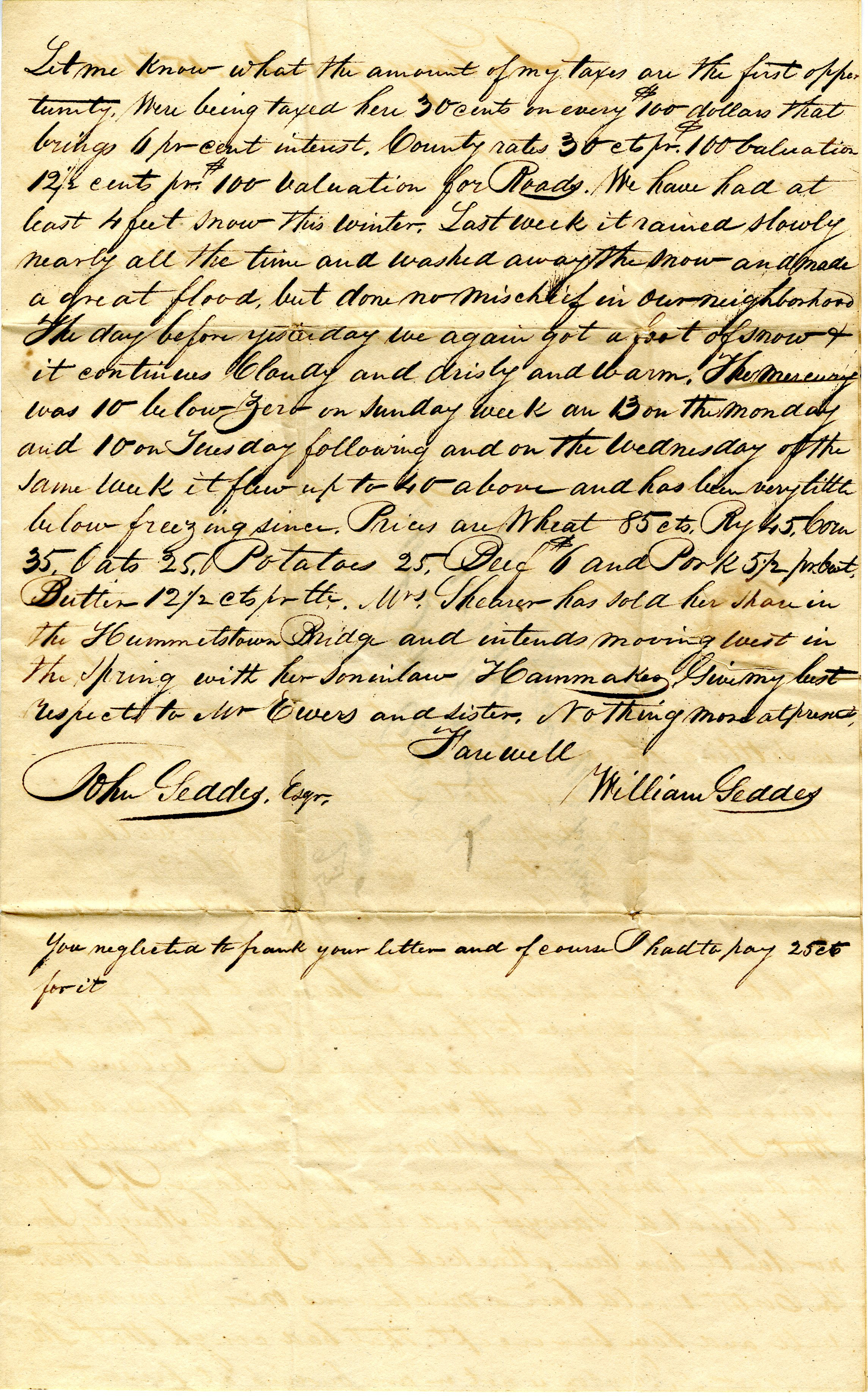 Letter From William Geddes to John Geddes, January 15, 1841 image