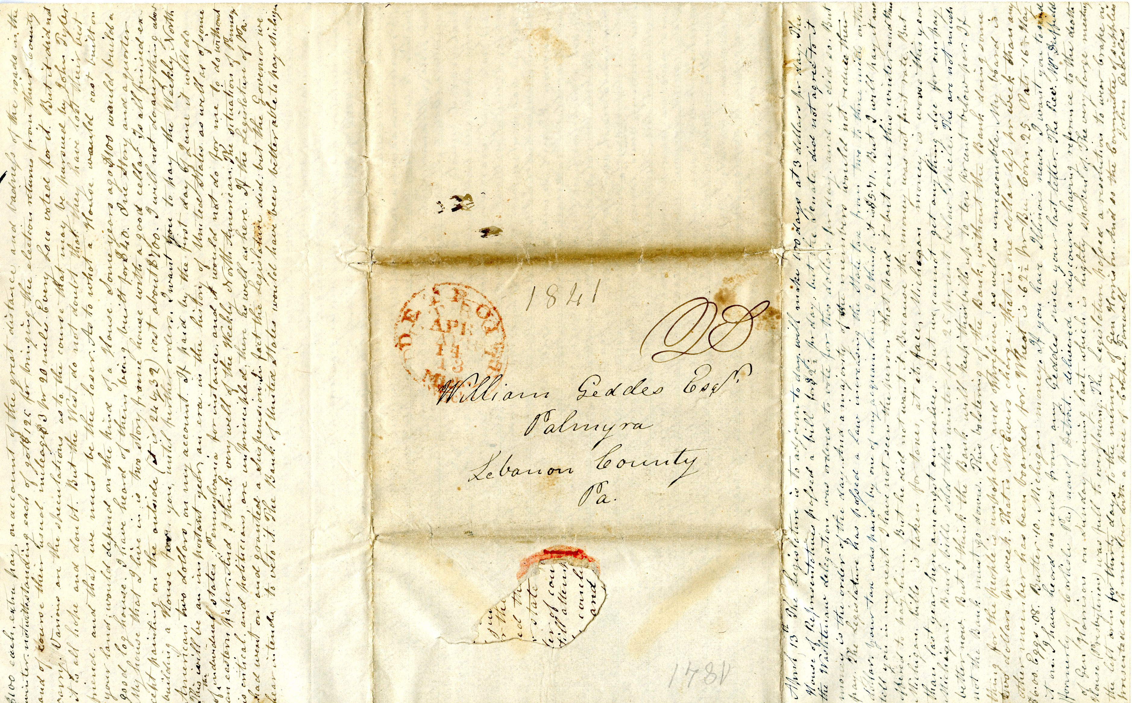 Letter From John Geddes to William Geddes, April 14, 1841 image