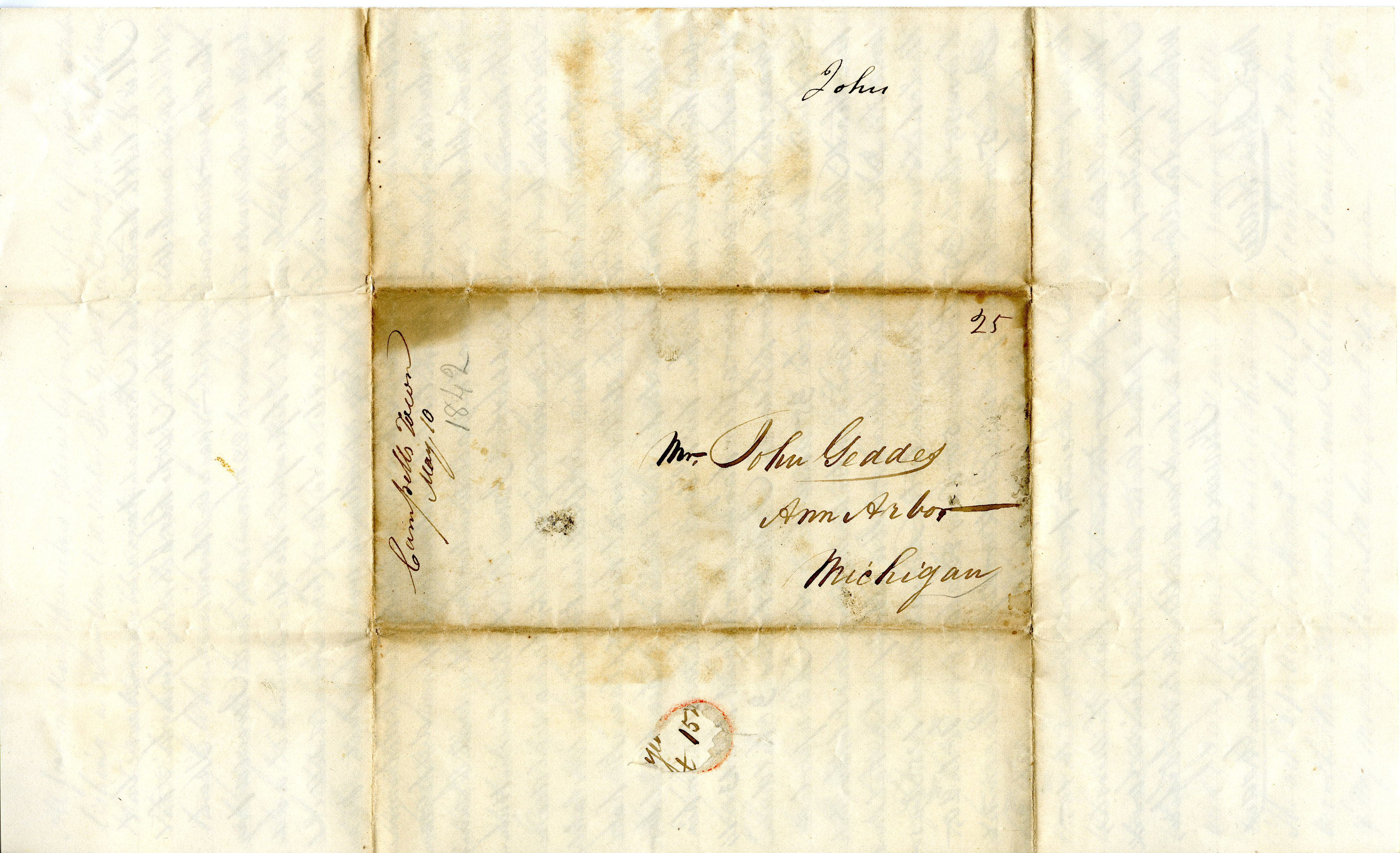 Letter From William Geddes to John Geddes, May 11, 1842 image
