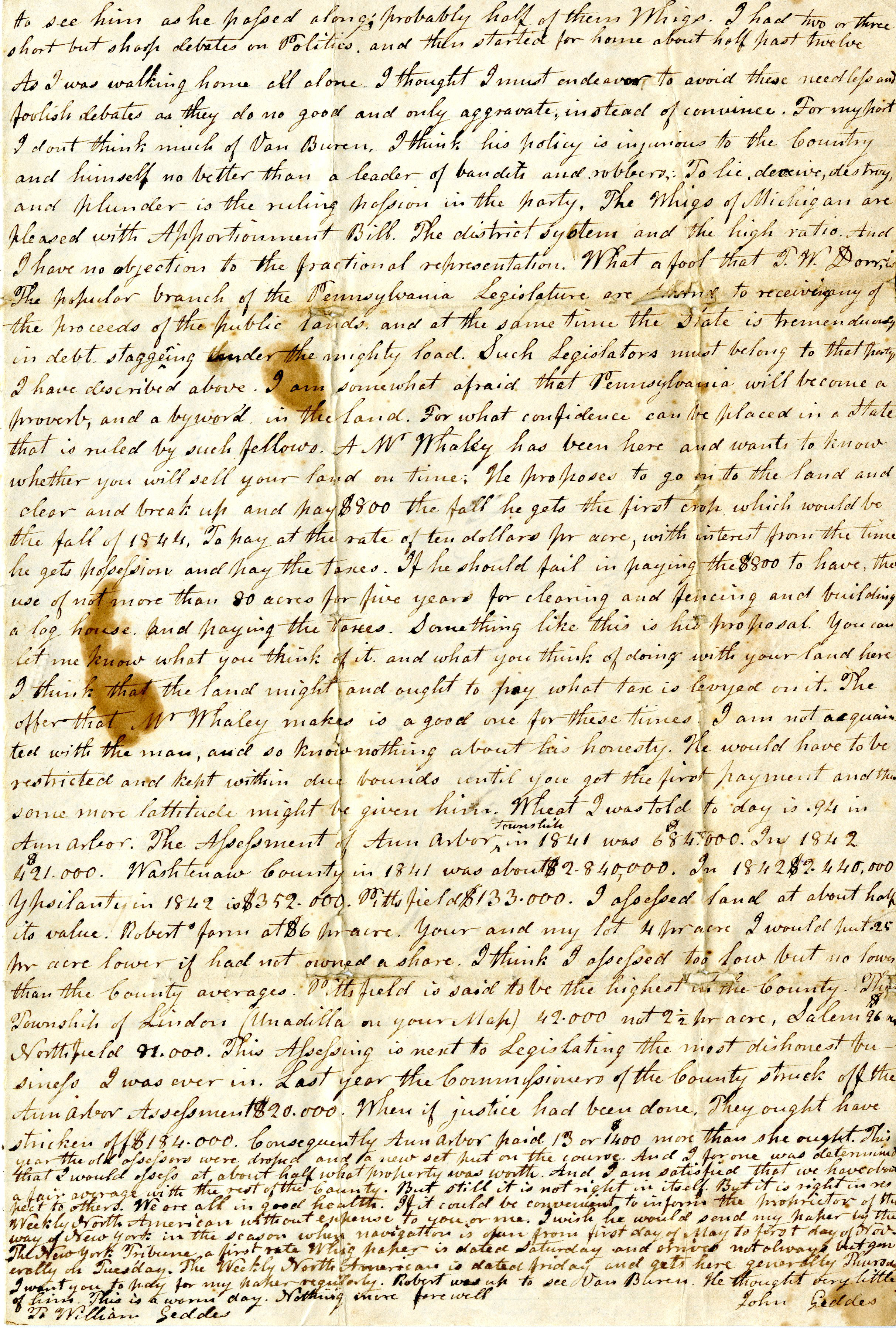 Letter From John Geddes to William Geddes, July 12, 1842 image