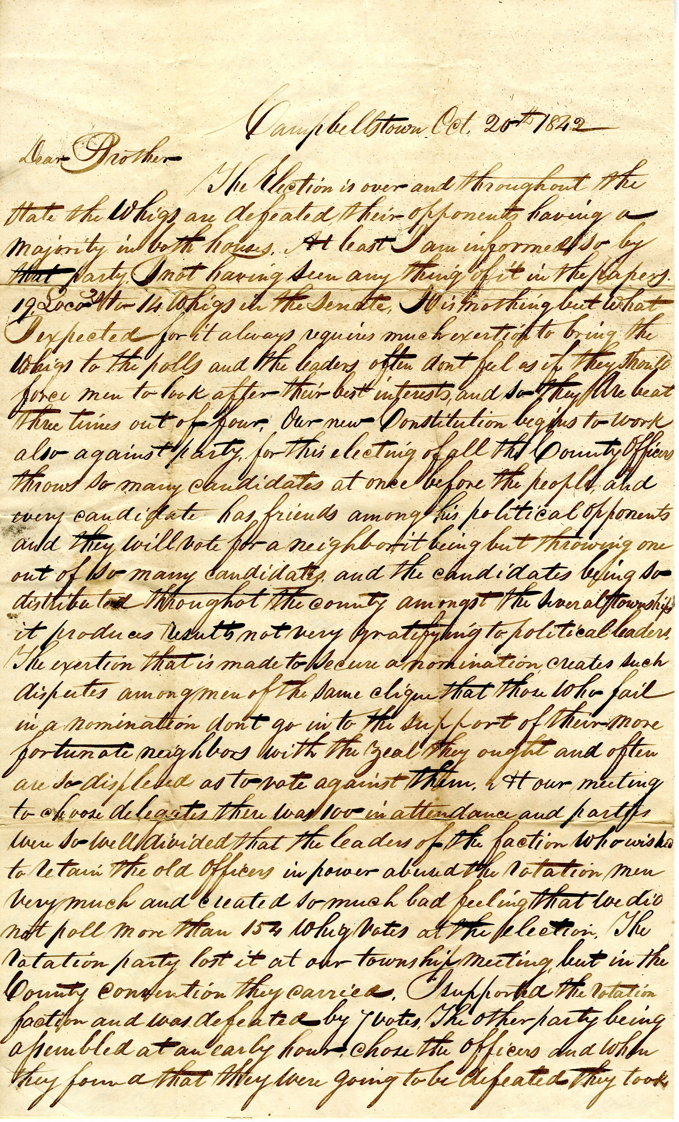 Letter From William Geddes to John Geddes, October 20, 1842 image