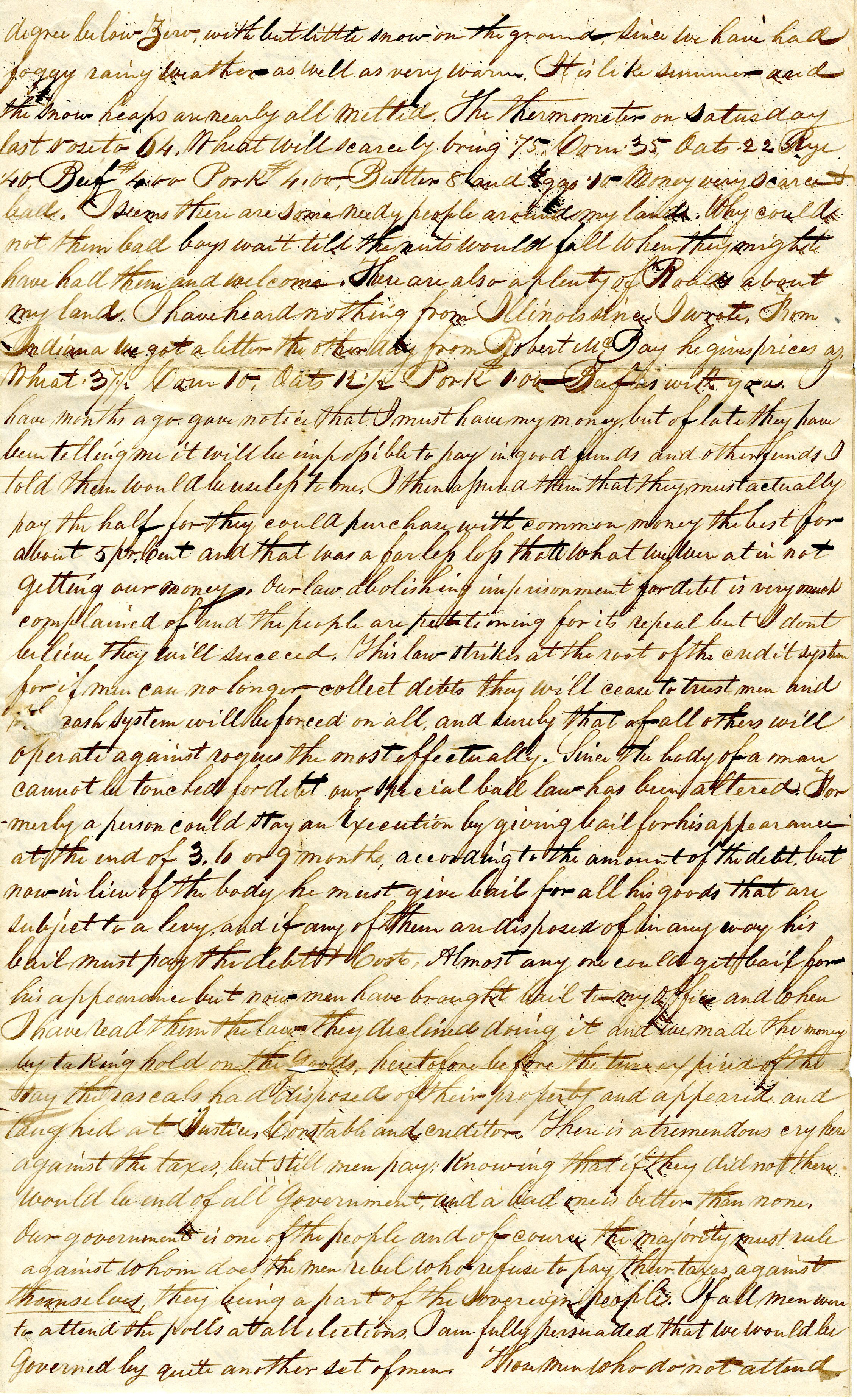 Letter From William Geddes to John Geddes, January 23, 1843 image