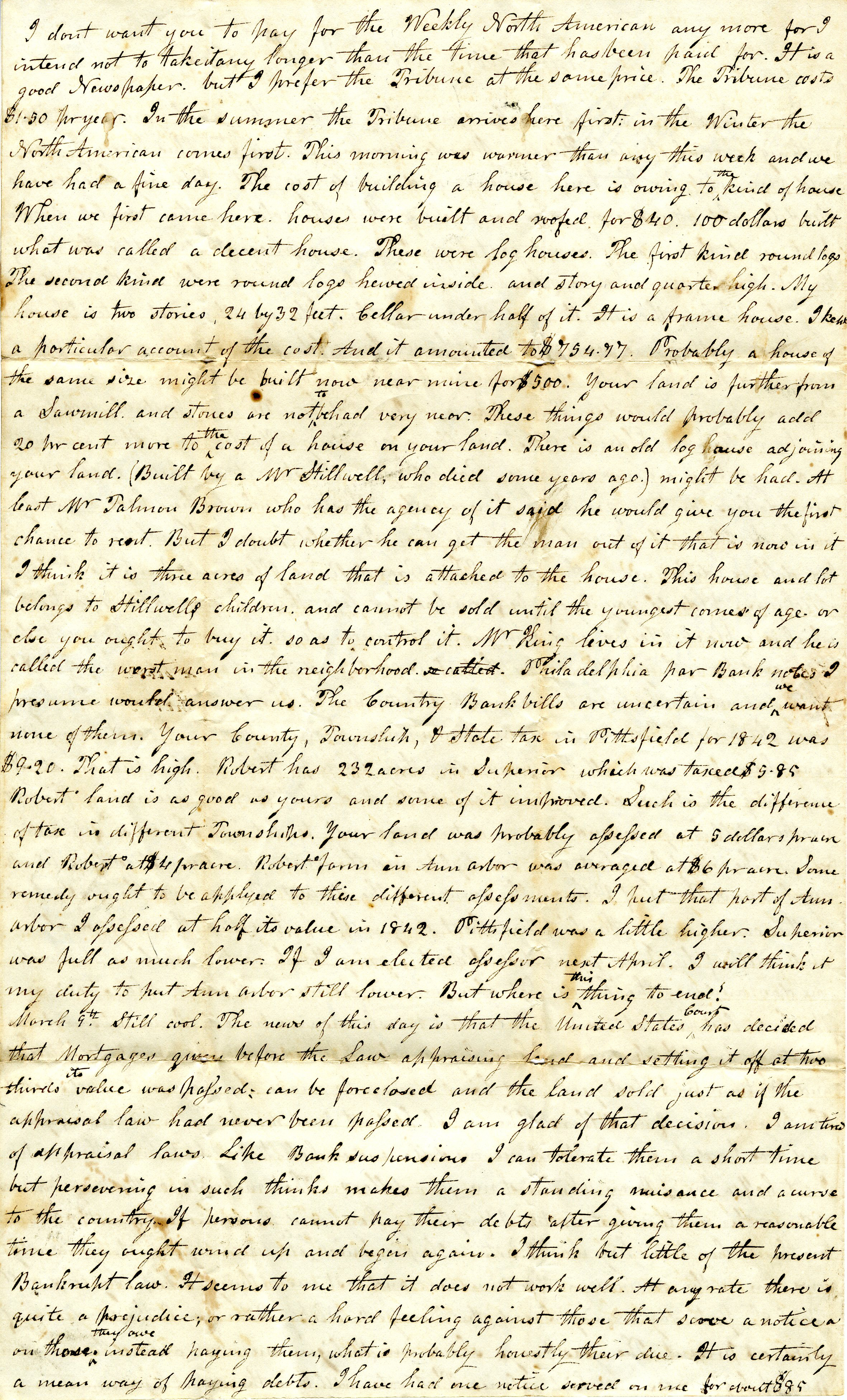 Letter From John Geddes to William Geddes, March 11, 1843 image