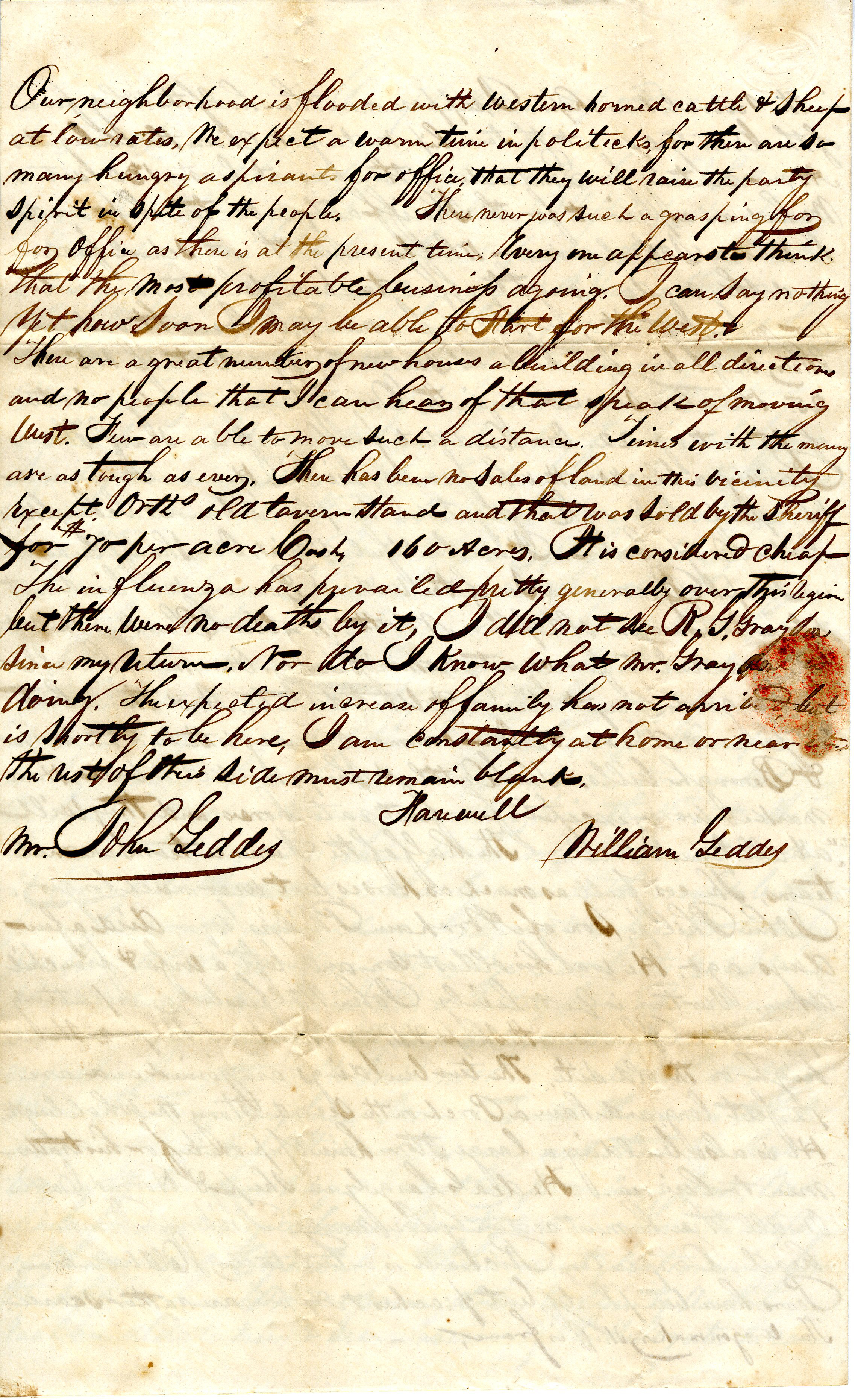 Letter From William Geddes to John Geddes, August 23, 1843 image