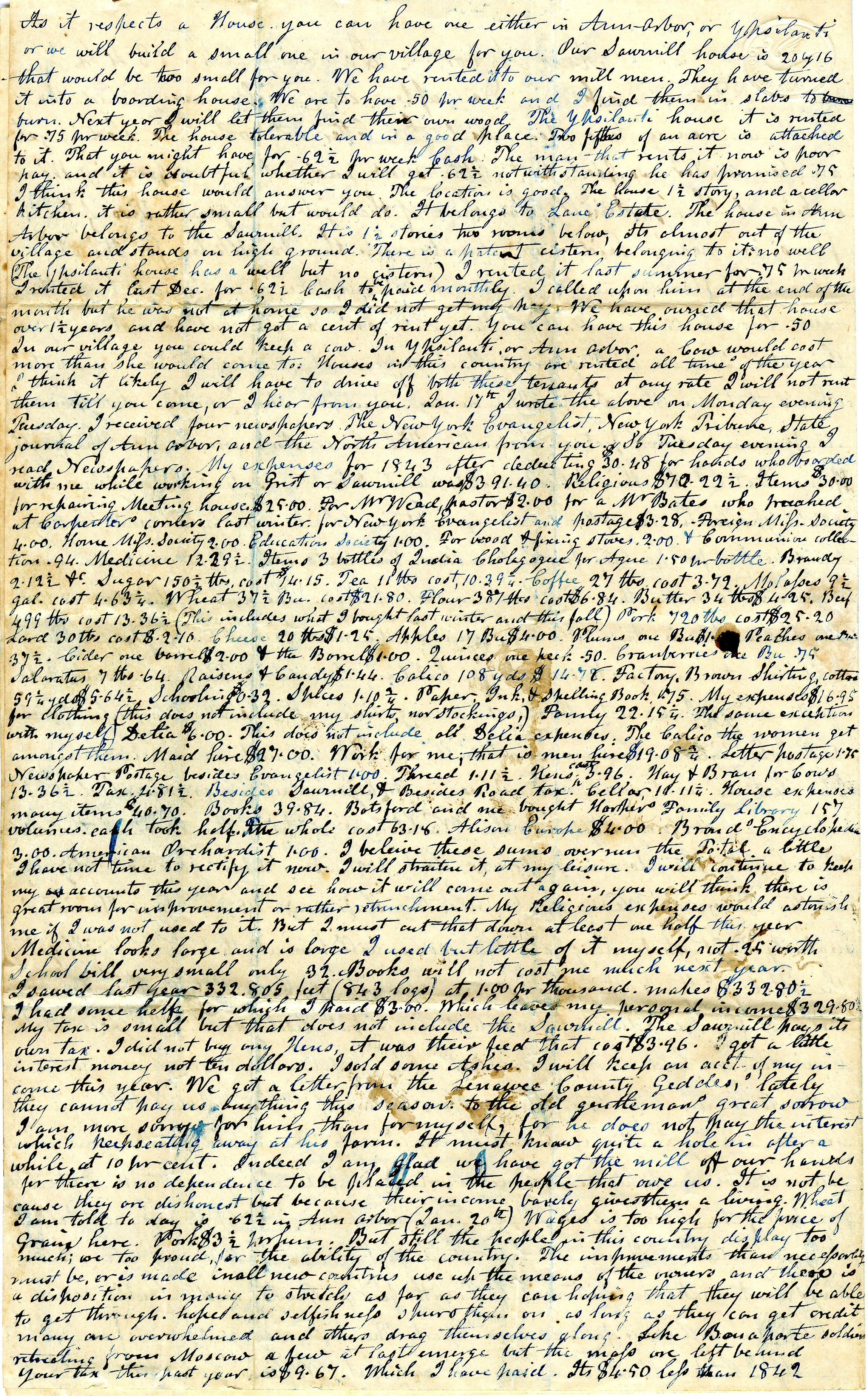 Letter From John Geddes to William Geddes, January 24, 1844 image