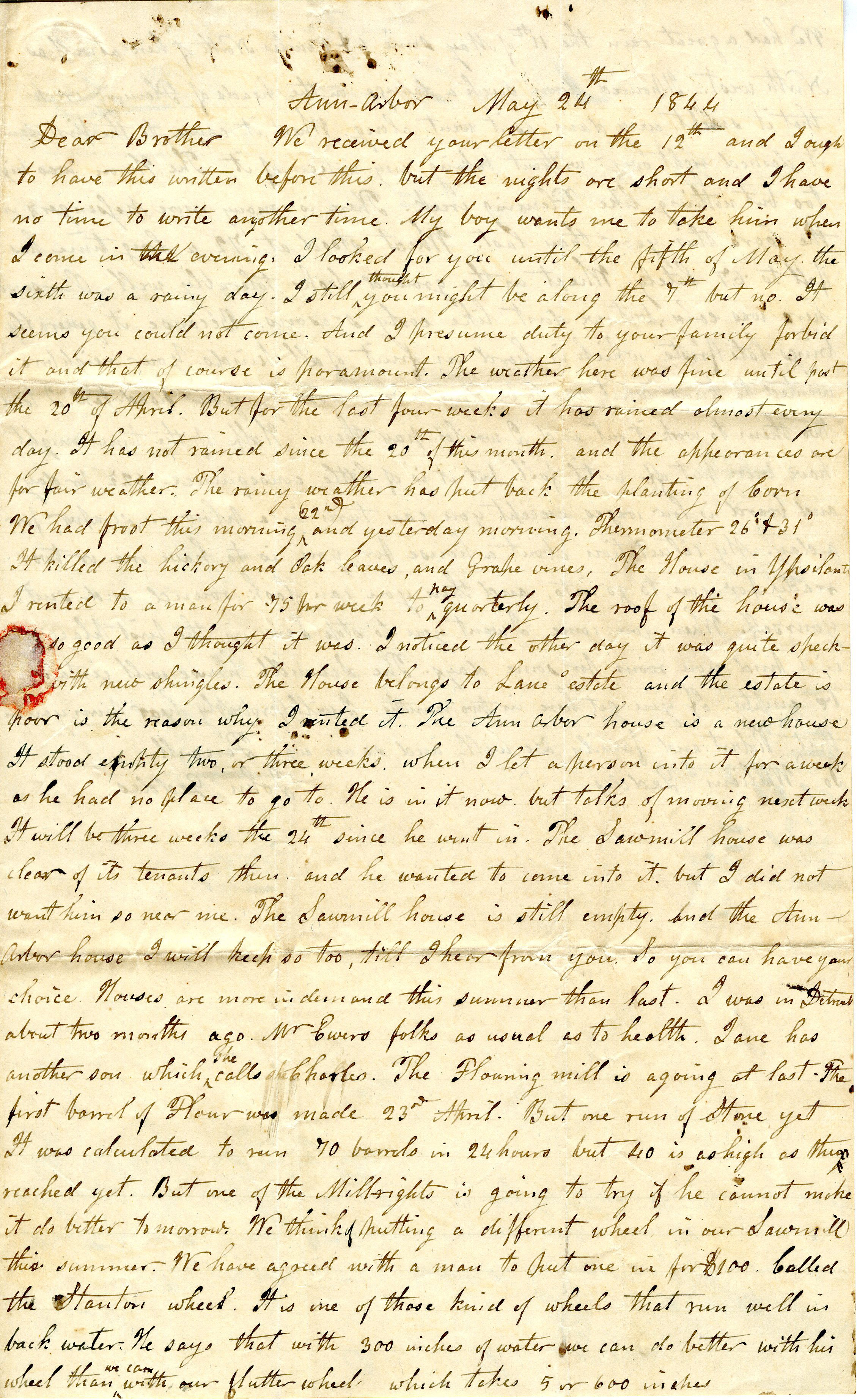 Letter From John Geddes to William Geddes, May 24, 1844 image