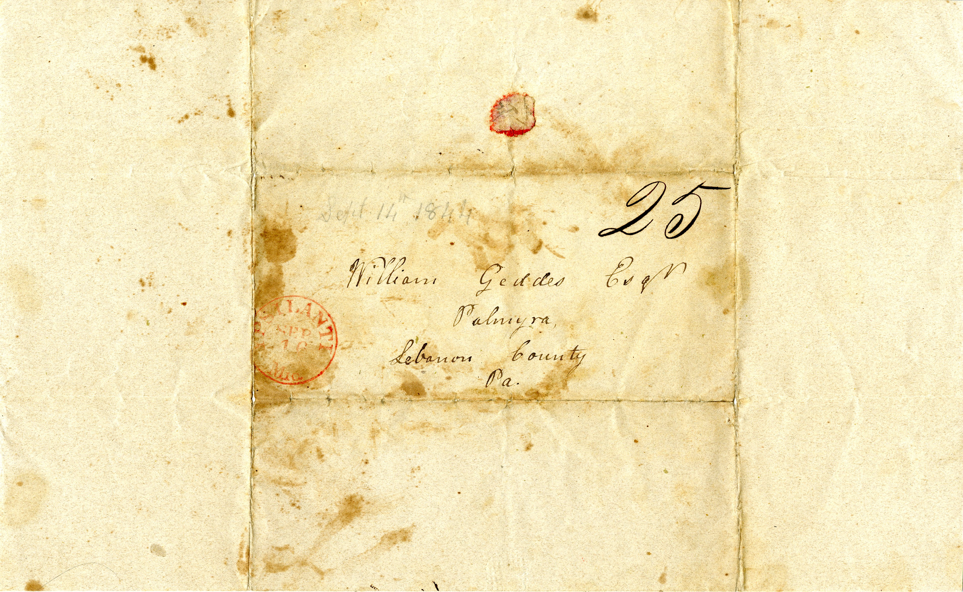 Letter From John Geddes to William Geddes, September 14, 1844 image