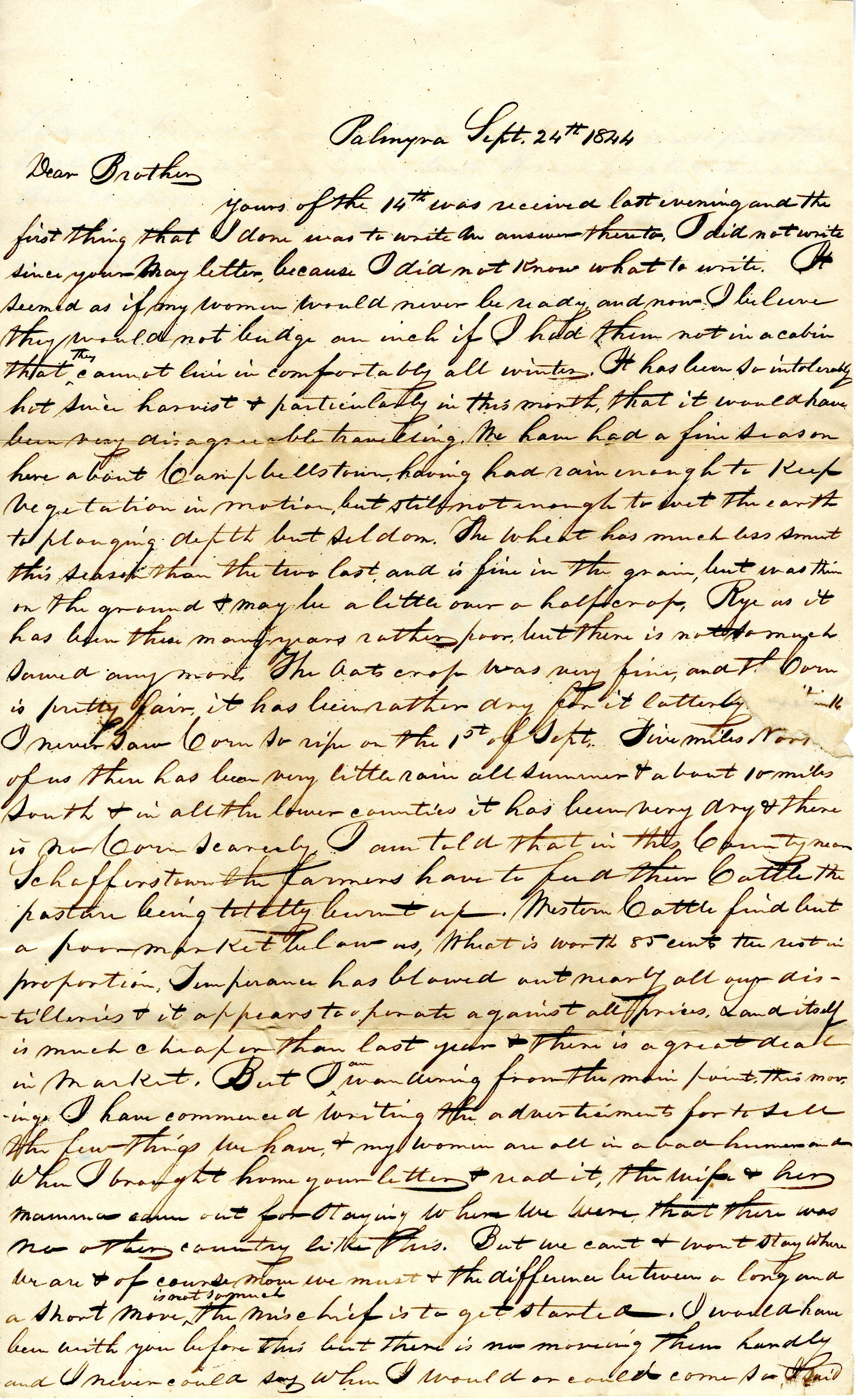 Letter From William Geddes to John Geddes, September 24, 1844 image