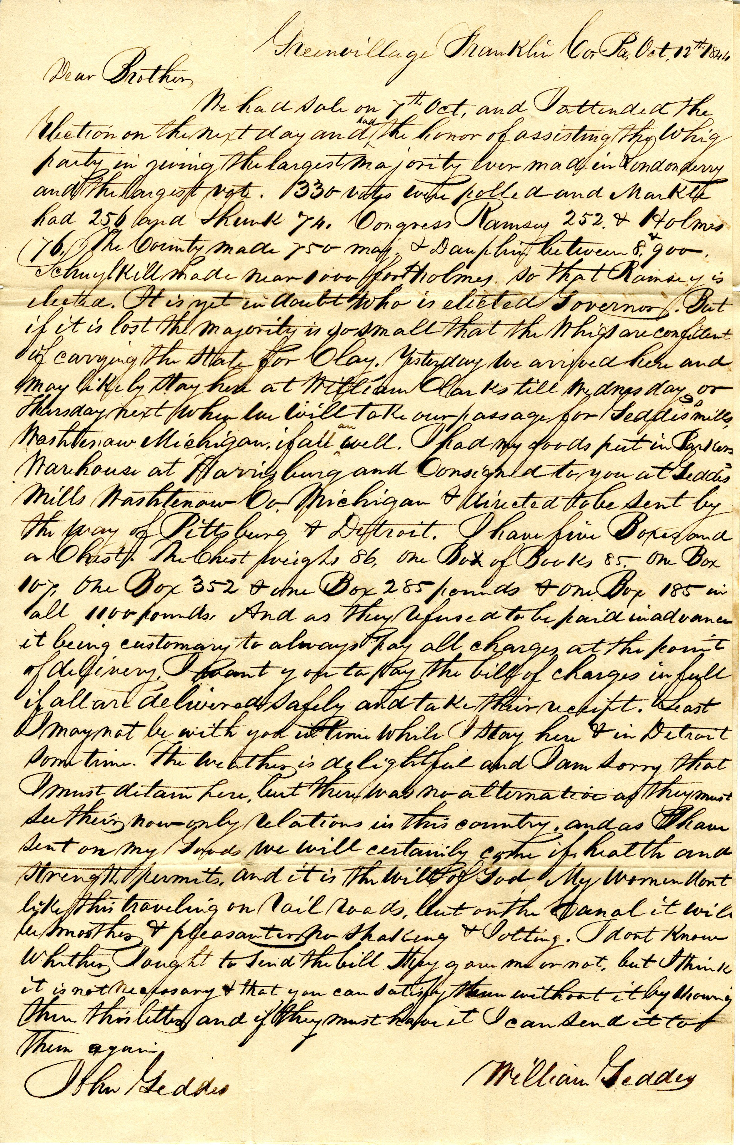 Letter From William Geddes to John Geddes, October 12, 1844 image