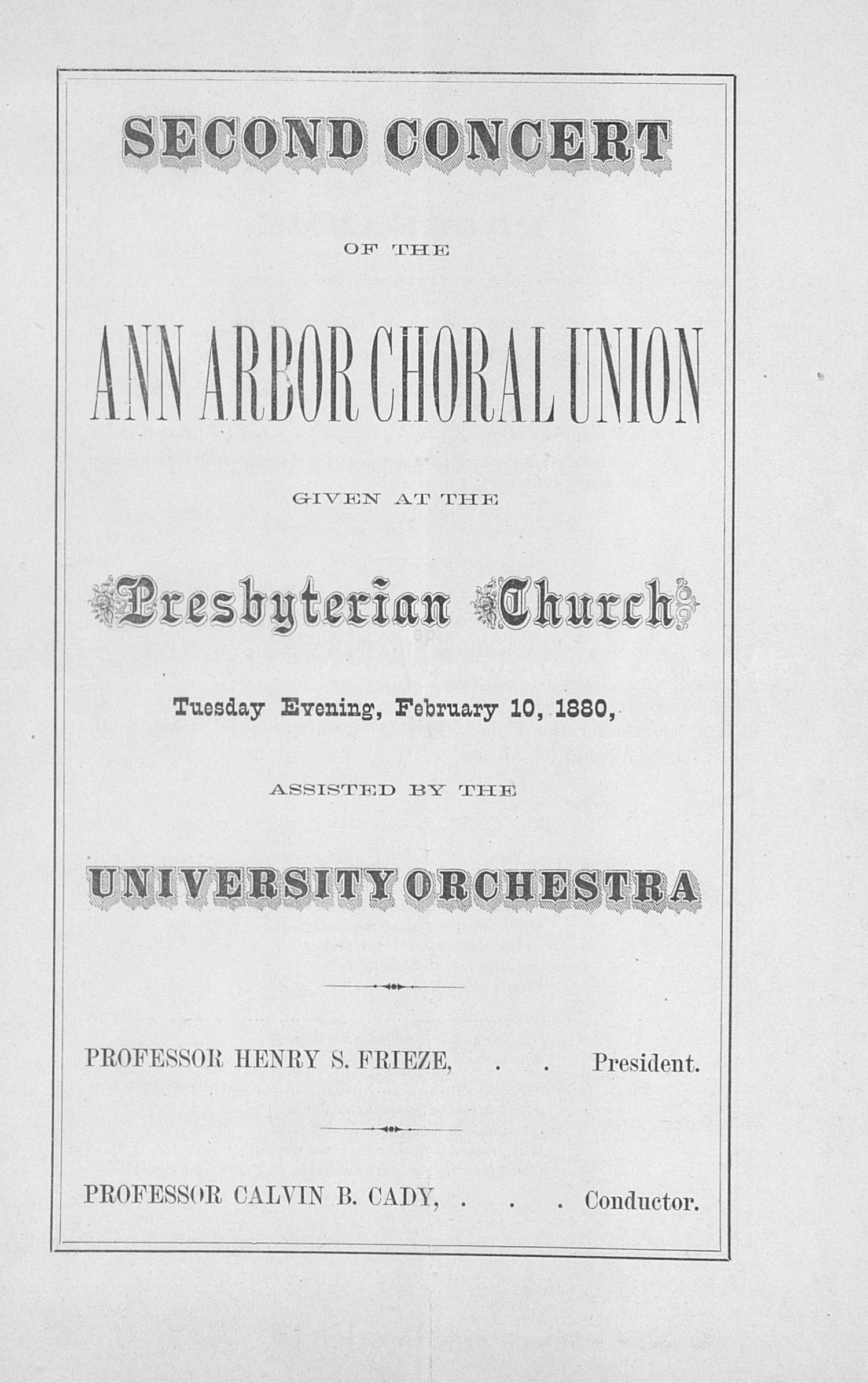 UMS Concert Program, February 10, 1880: Ann Arbor Choral Union --  image