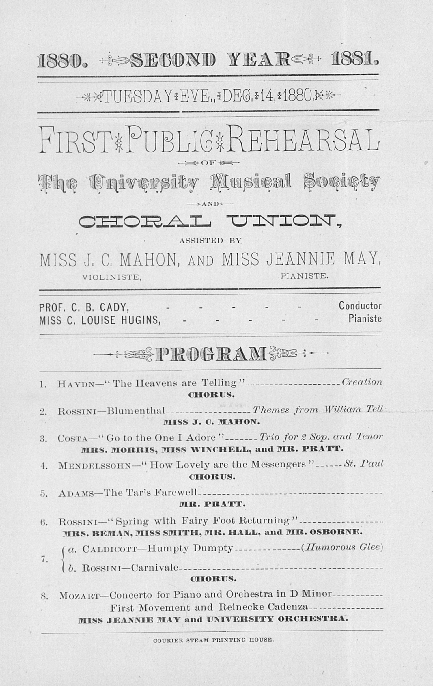 UMS Concert Program, Dec. 14,1880: Choral Union --  image
