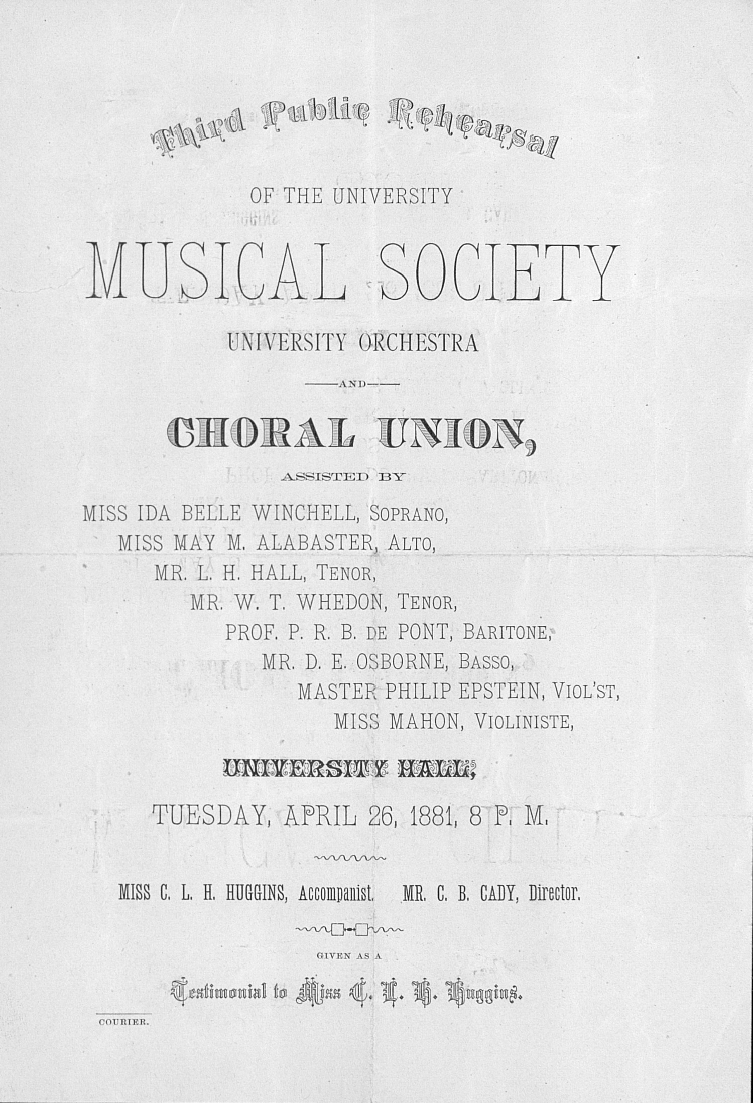 UMS Concert Program, April 26, 1881: Third Public Rehearsal -- Choral Union image