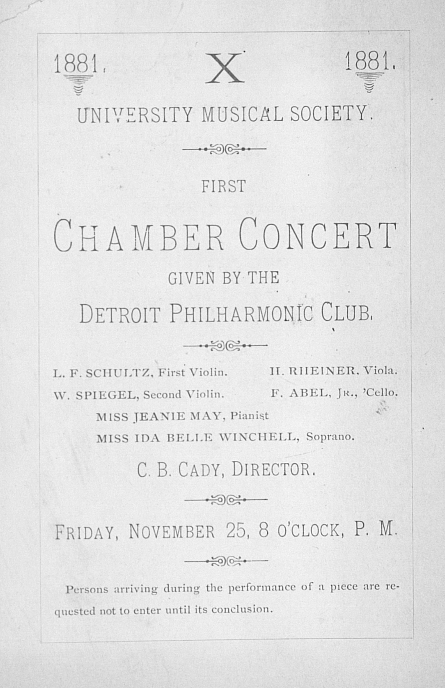 UMS Concert Program, November 25: First Chamber Concert -- Detroit Philharmonic Club image