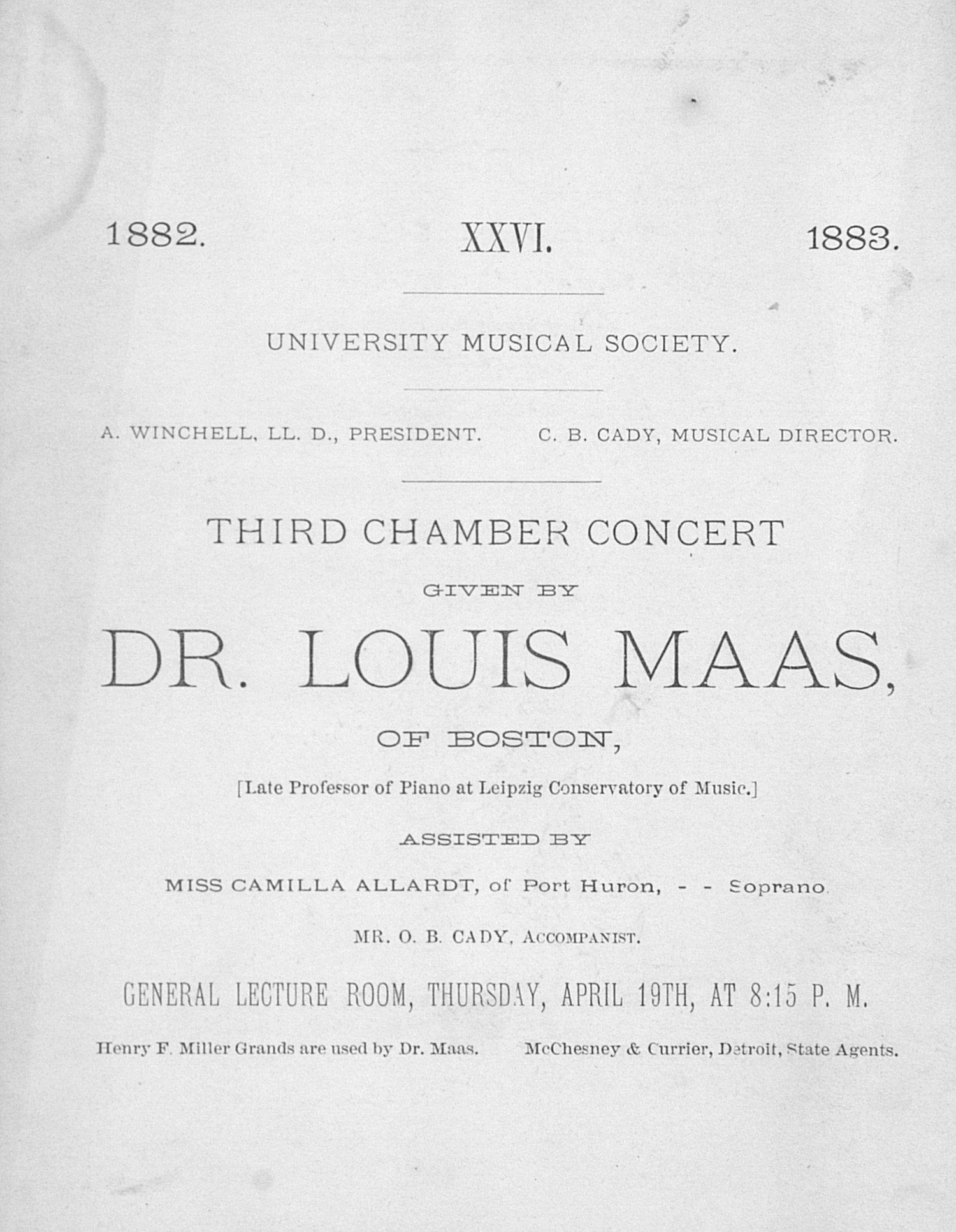UMS Concert Program, April 19th: Third Chamber Concert -- Dr. Louis Maas image