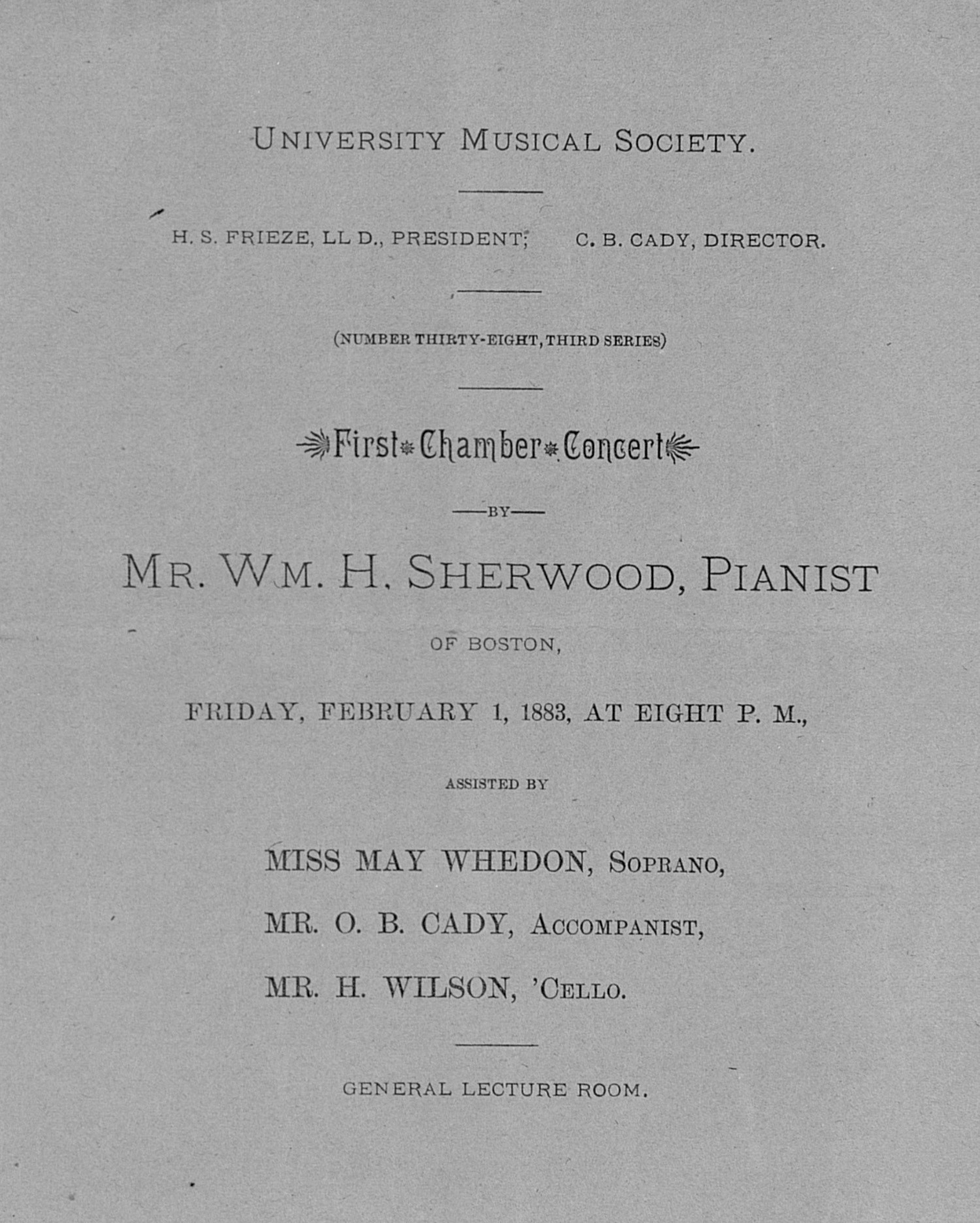 UMS Concert Program, February 1, 1883: First Chamber Concert -- Mr. Wm. H. Sherwood image