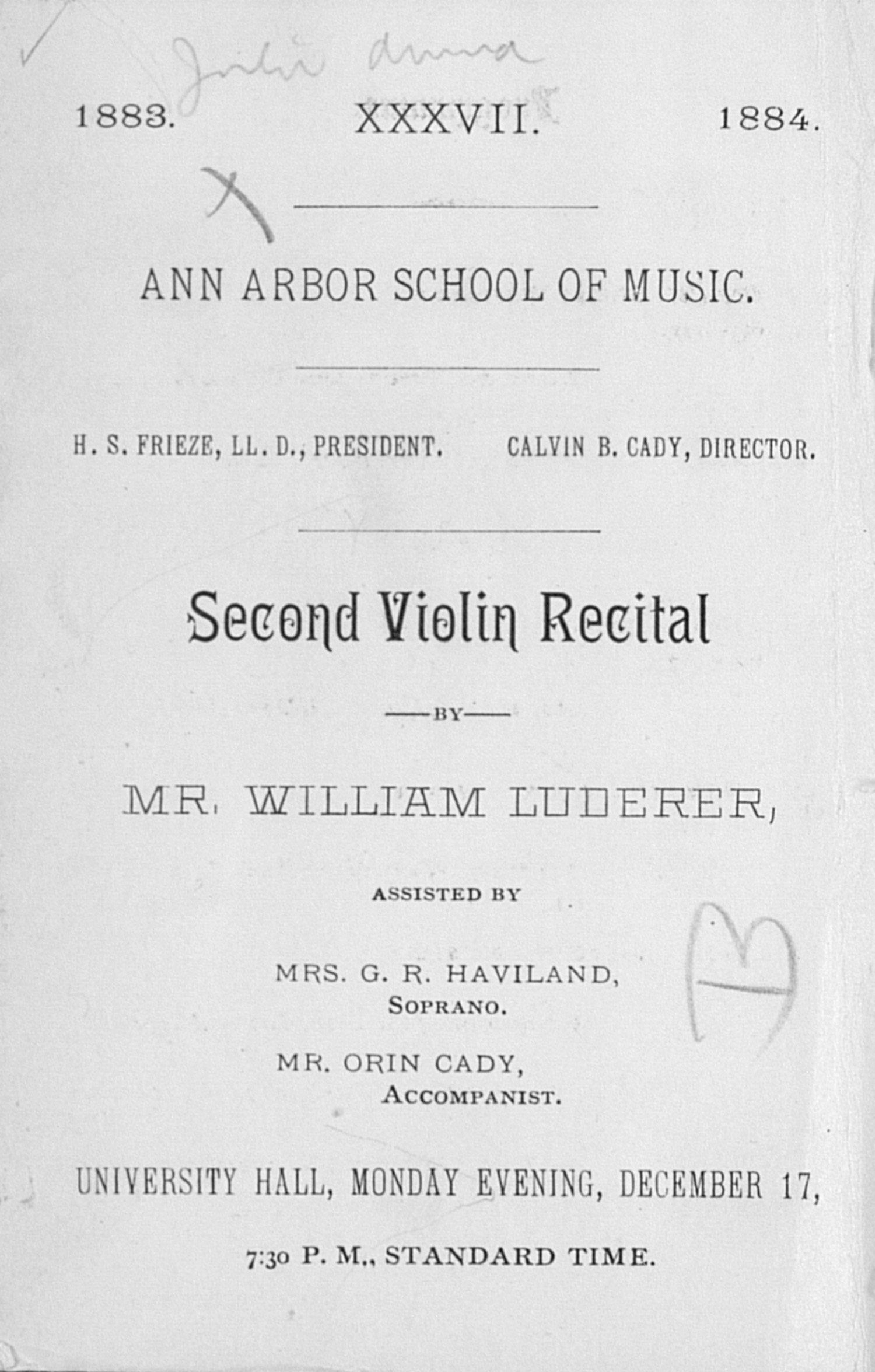 UMS Concert Program, December 17: Second Violin Recital -- Mr. William Luderer image