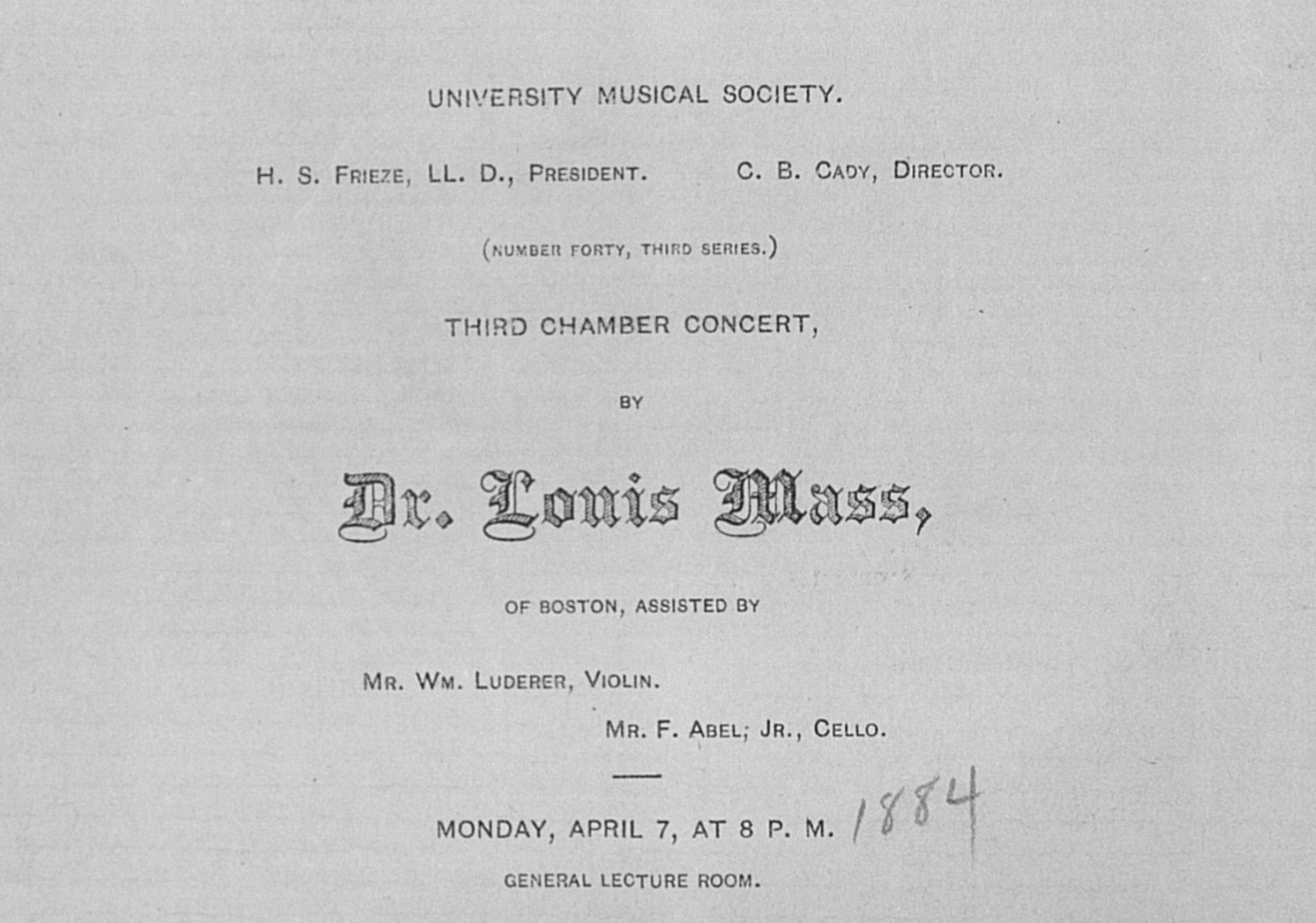 UMS Concert Program, April 7: Third Chamber Concert -- Dr. Louis Mass image