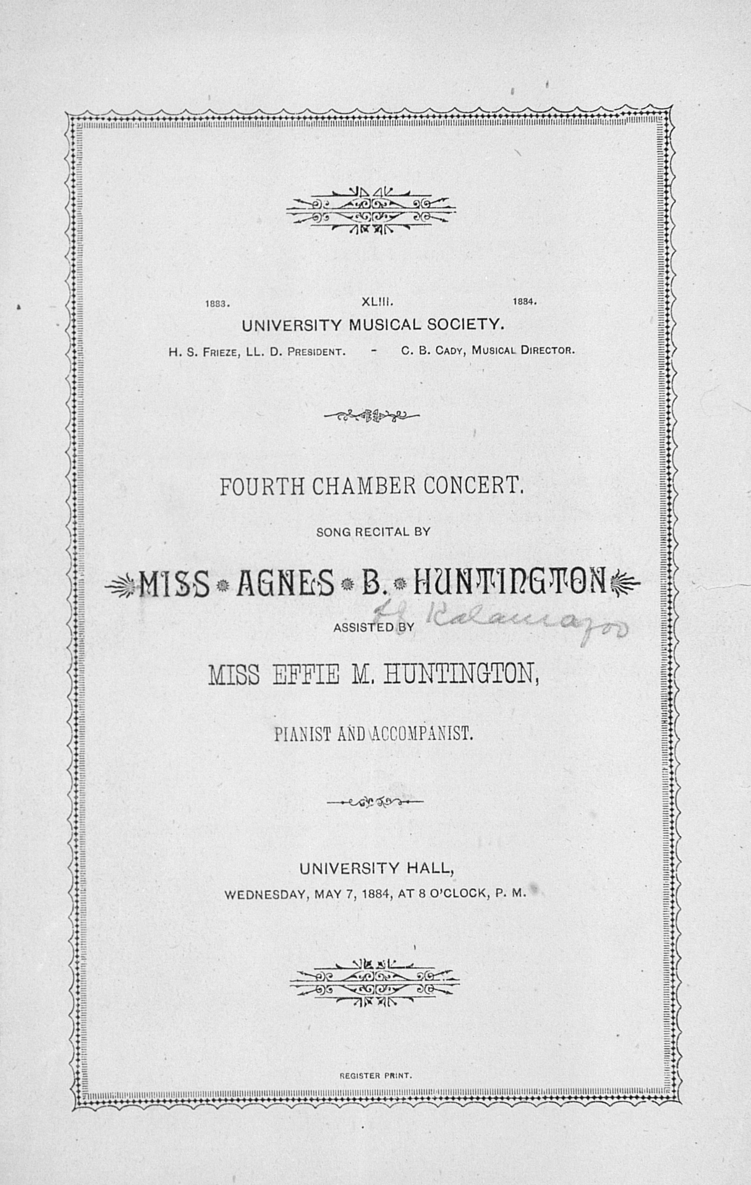 UMS Concert Program, May 7, 1884: Fourth Chamber Concert -- Miss Agnes B. Huntington image