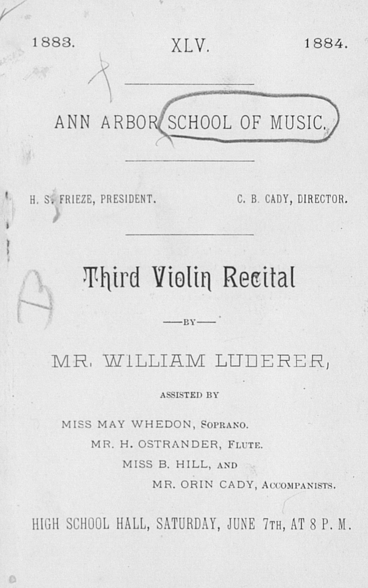 UMS Concert Program, June 7th: Third Violin Recital -- Mr. William Luderer image