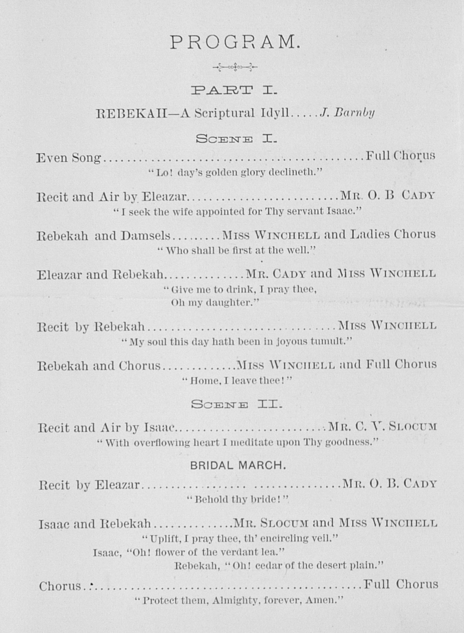 UMS Concert Program, February 25, 1885: Rebekah And The Dream -- Choral Union image