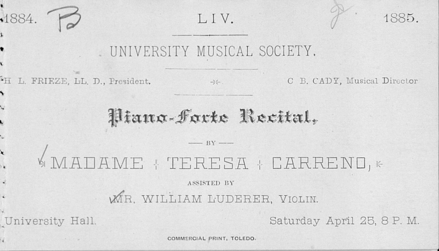 UMS Concert Program, April 25: Pianoforte Recital -- Madame Teresa Carreno image
