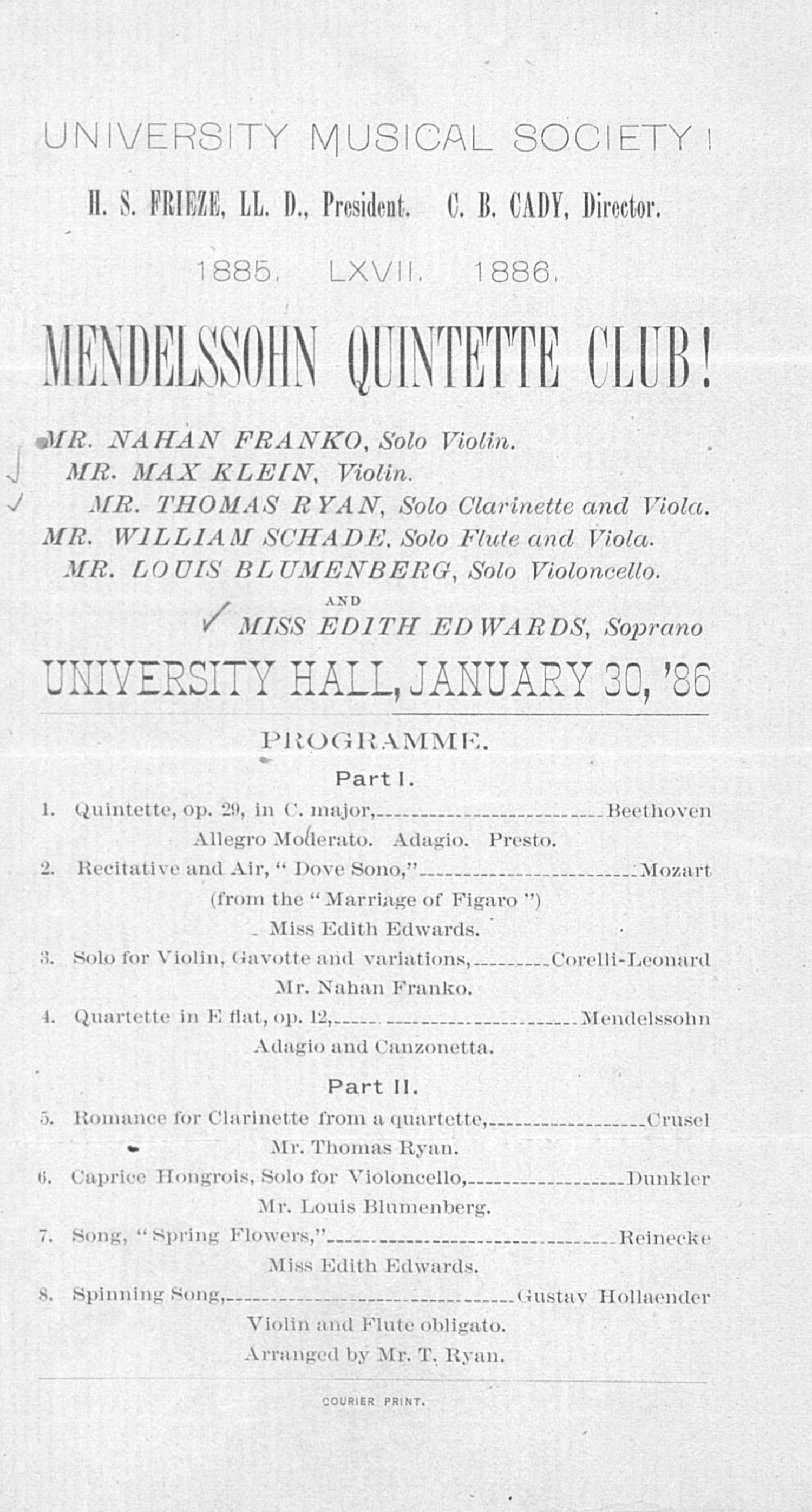 UMS Concert Program, January 30, '86:  -- Mendelssohn Quintette Club image