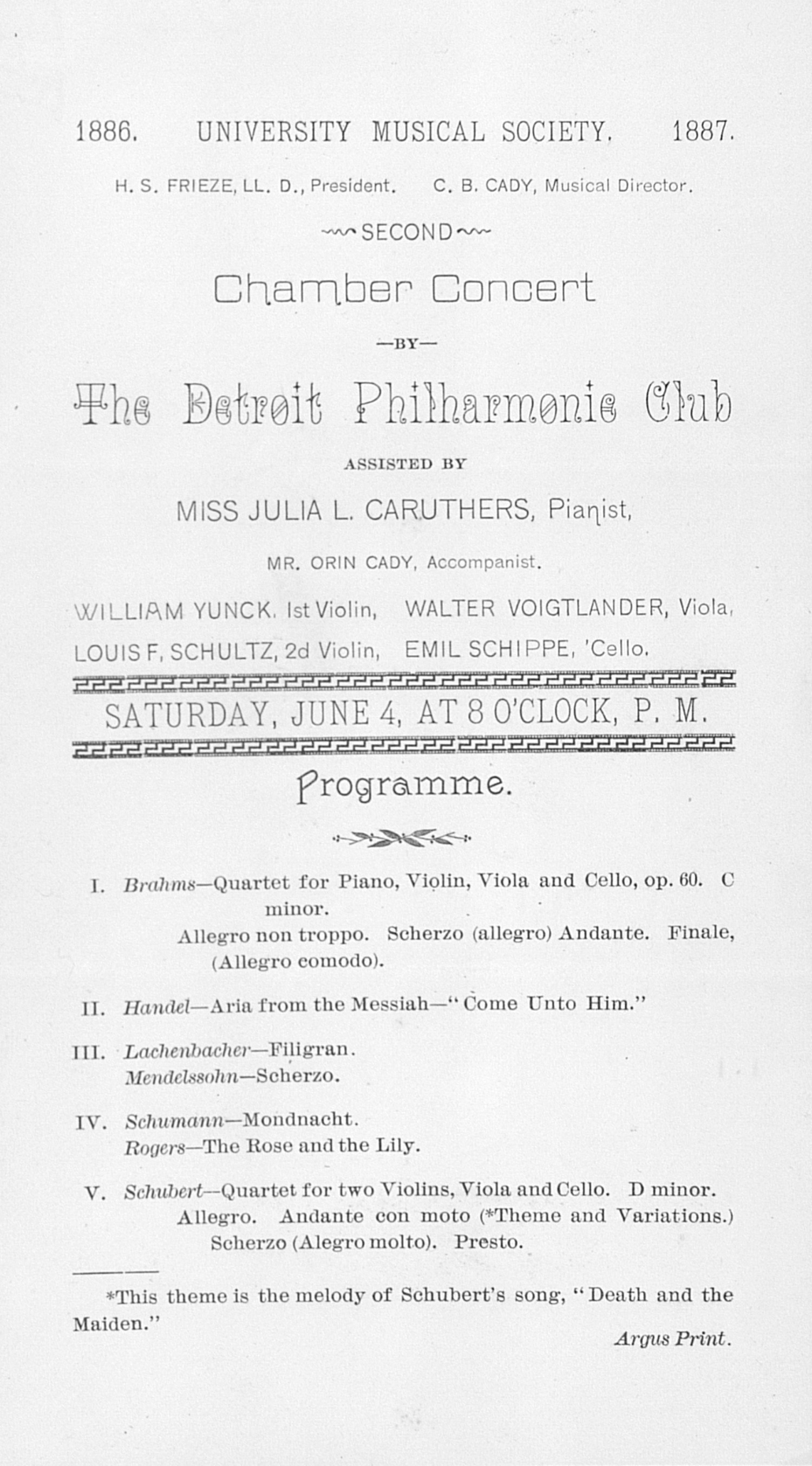 UMS Concert Program, June 4: Second Chamber Concert -- The Detroit Philharmonic Club image
