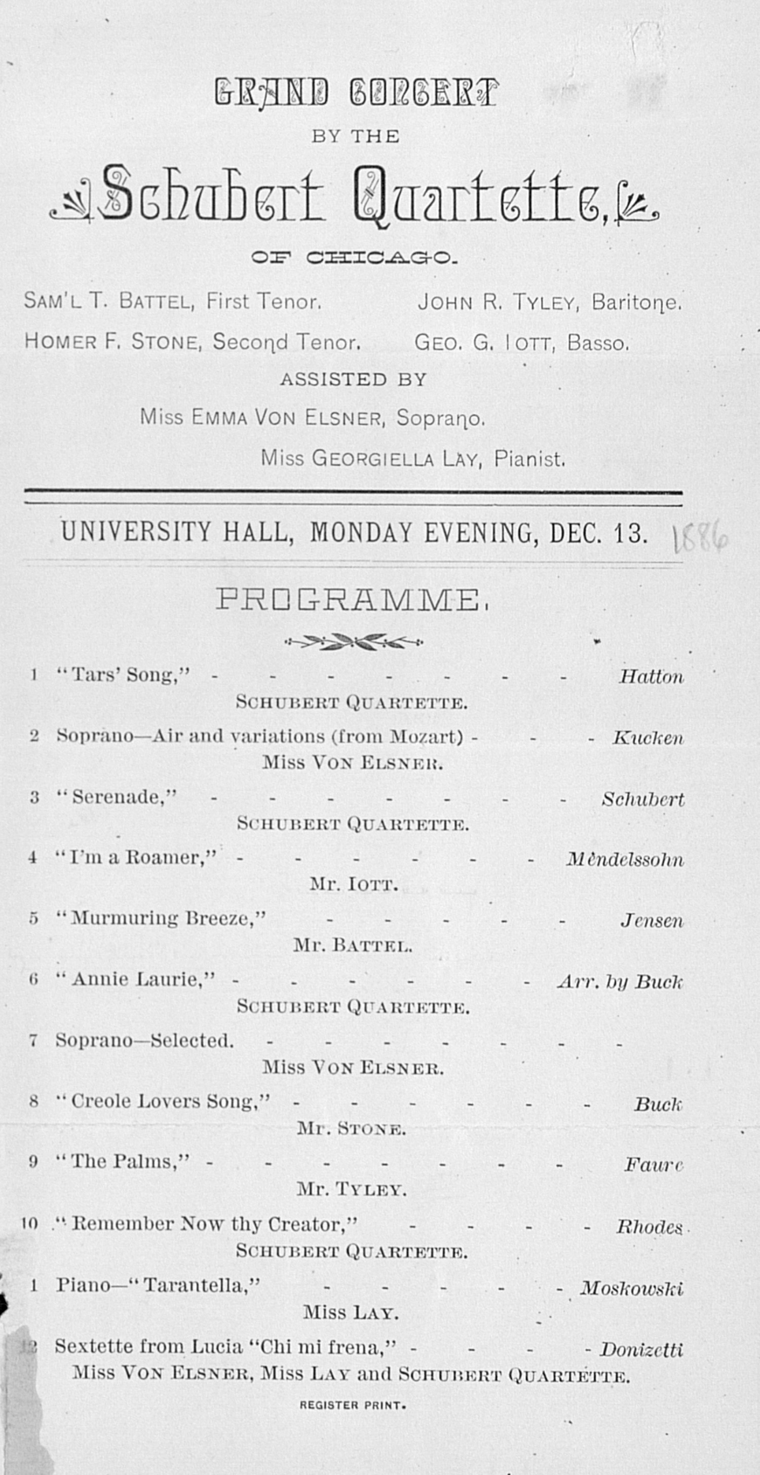 UMS Concert Program, Dec. 13: Grand Concert By The Schubert Quartette --  image