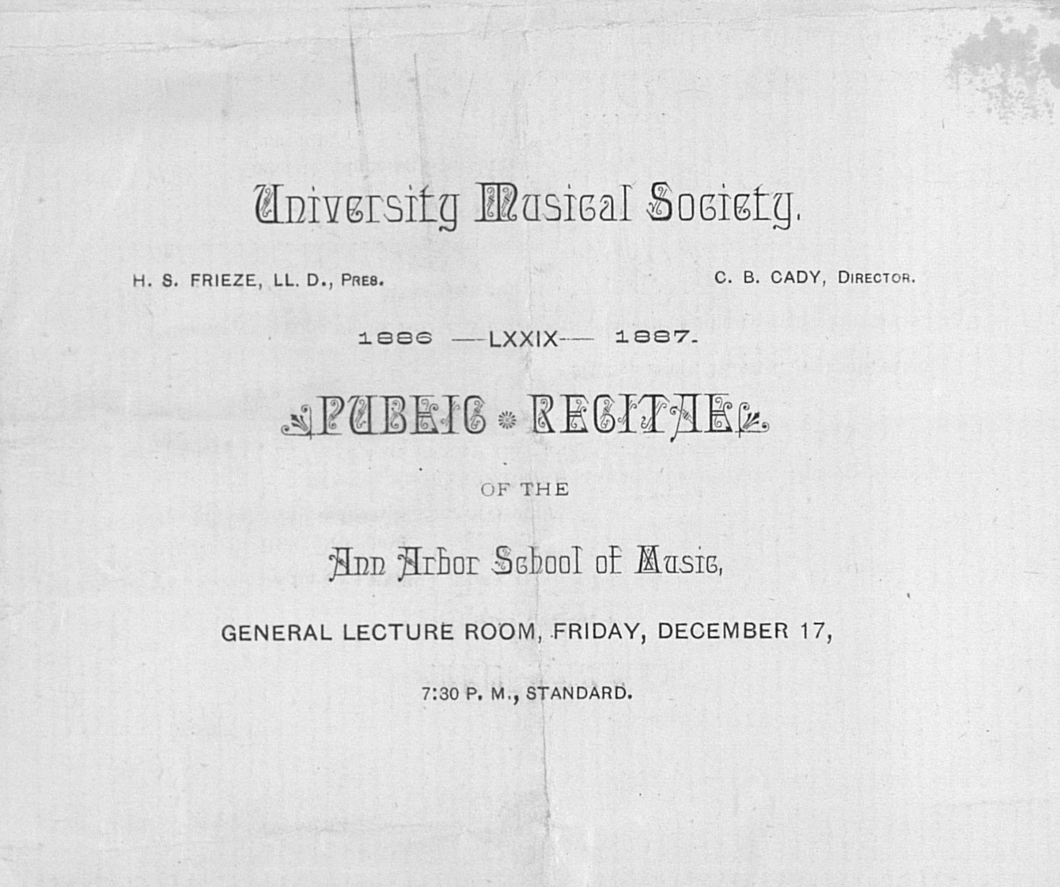 UMS Concert Program, December 17: Public Recital Of The Ann Arbor School Of Music --  image