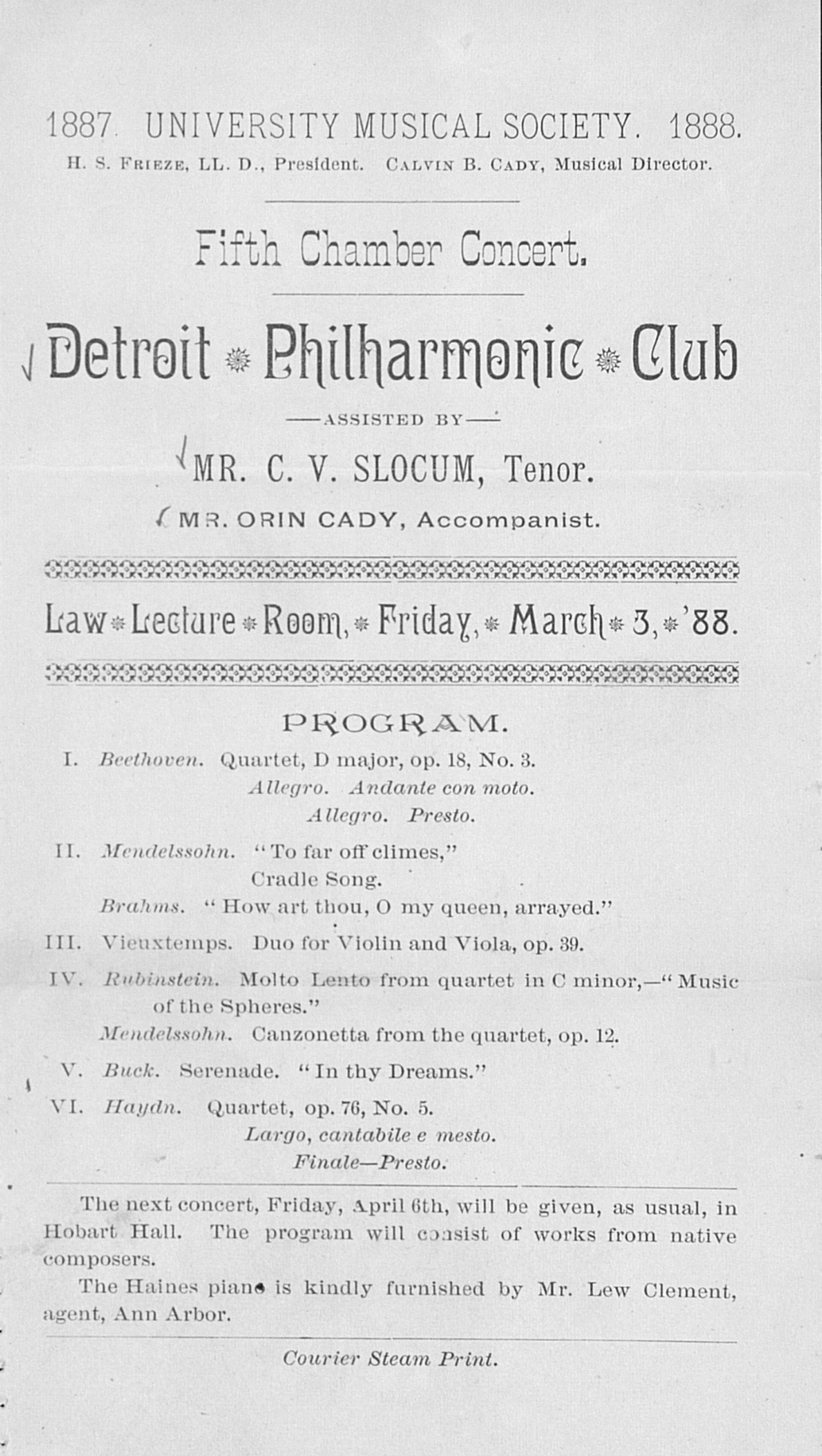UMS Concert Program, March 3,'88: Fifth Chamber Concert -- Detroit Philharmonic Club image