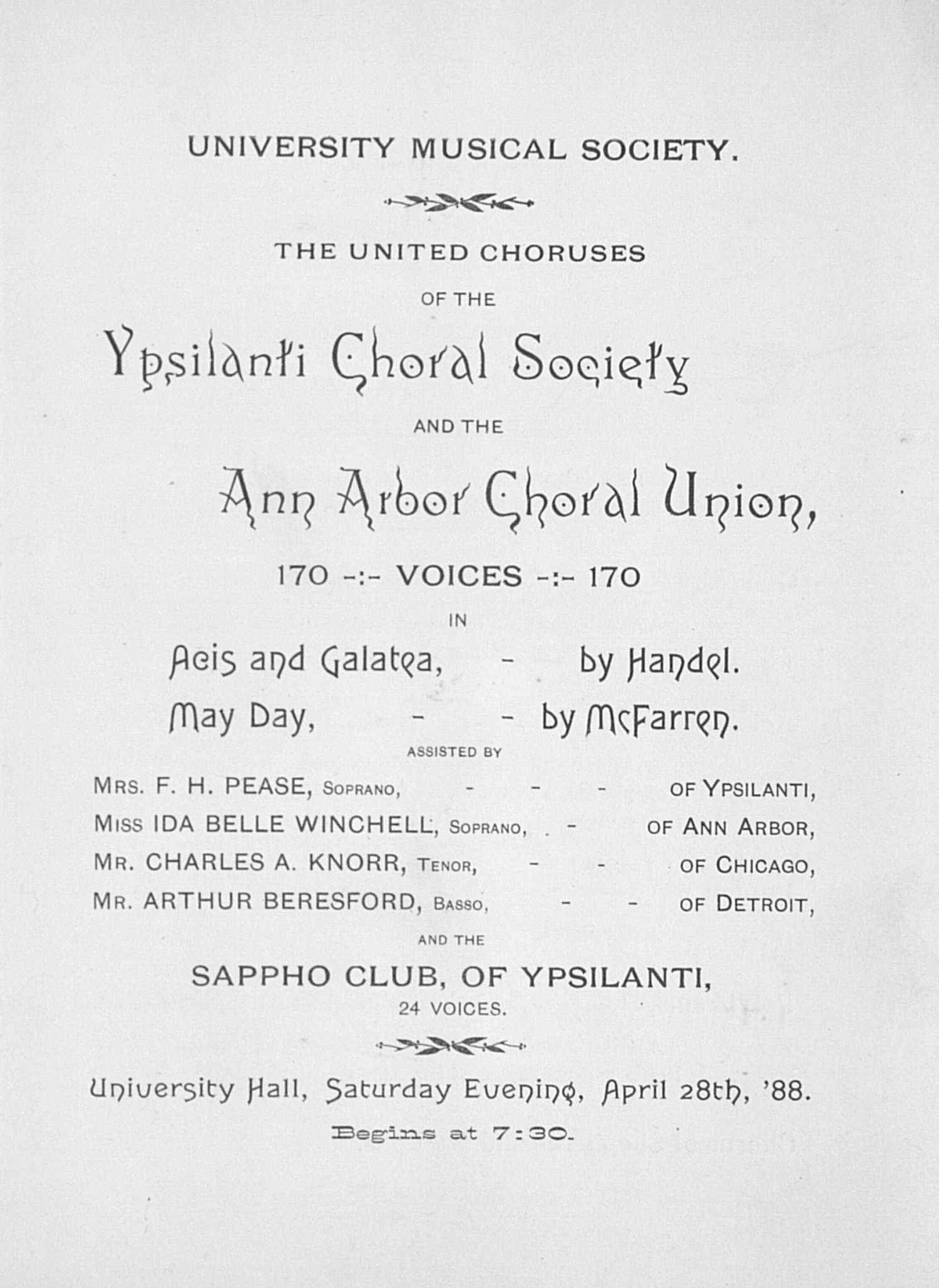 UMS Concert Program, April 28th, '88: Ann Arbor Choral Union --  image
