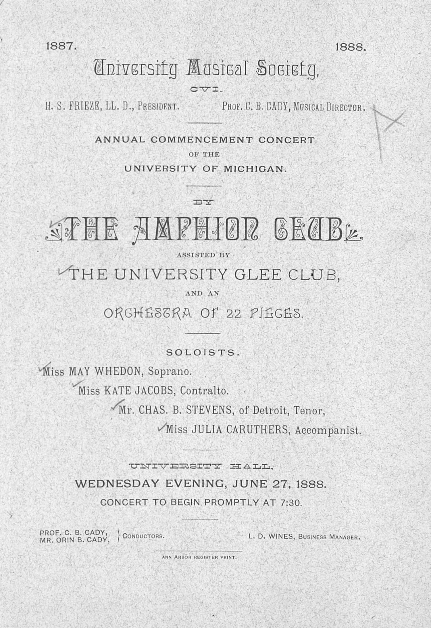 UMS Concert Program, June 27, 1888: Annual Commencement Concert Of The University Of Michigan -- The Amphion Club  image