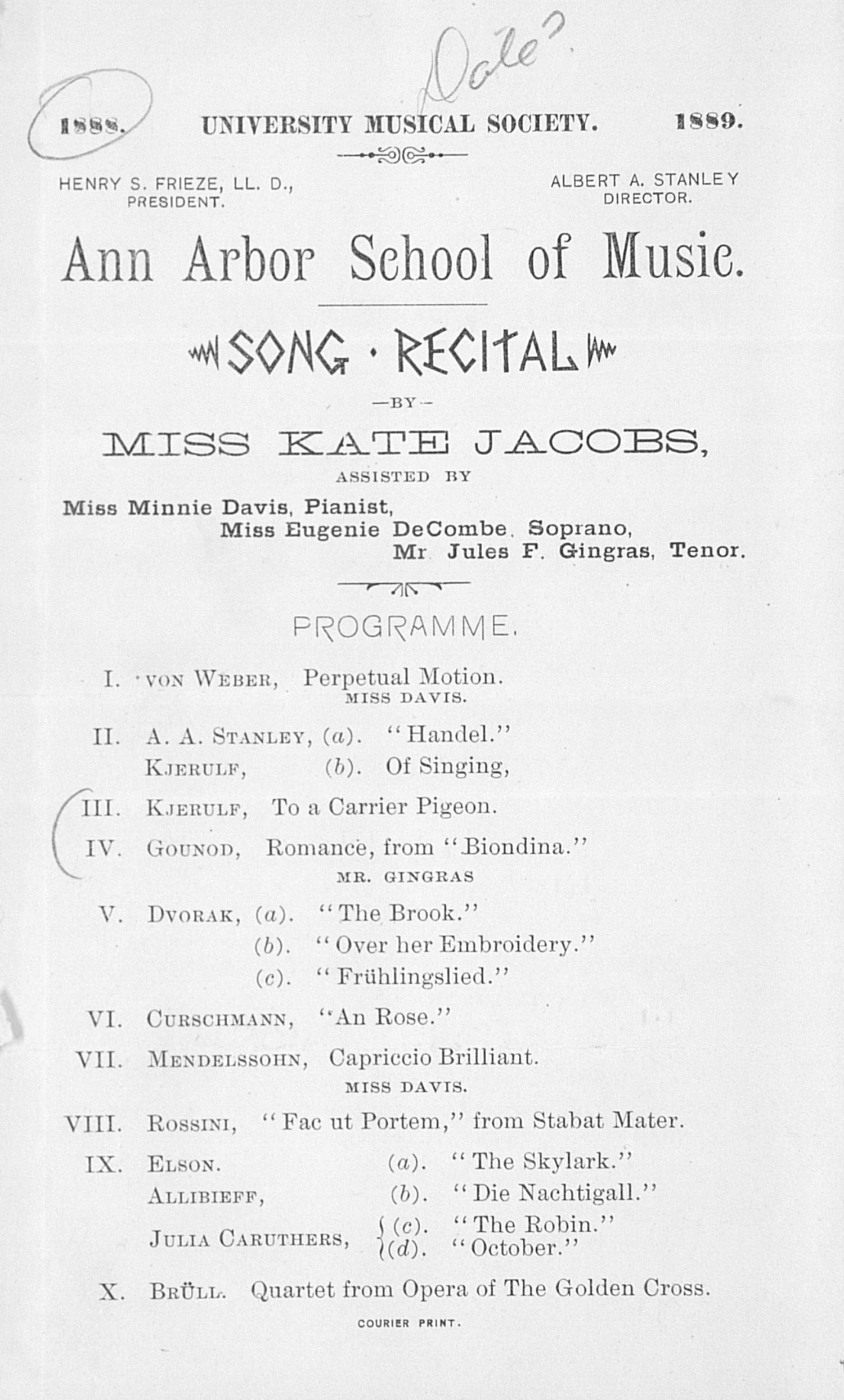UMS Concert Program, : Song Recital -- Miss Kate Jacobs image