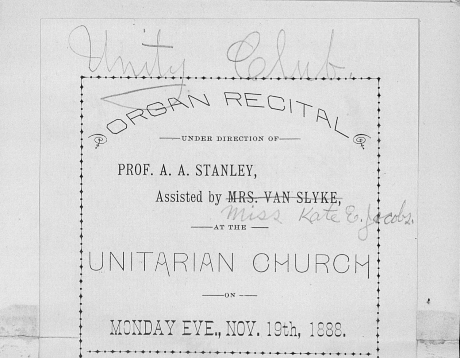 UMS Concert Program, Nov. 19th, 1888: Organ Recital -- Prof. A. A. Stanley image