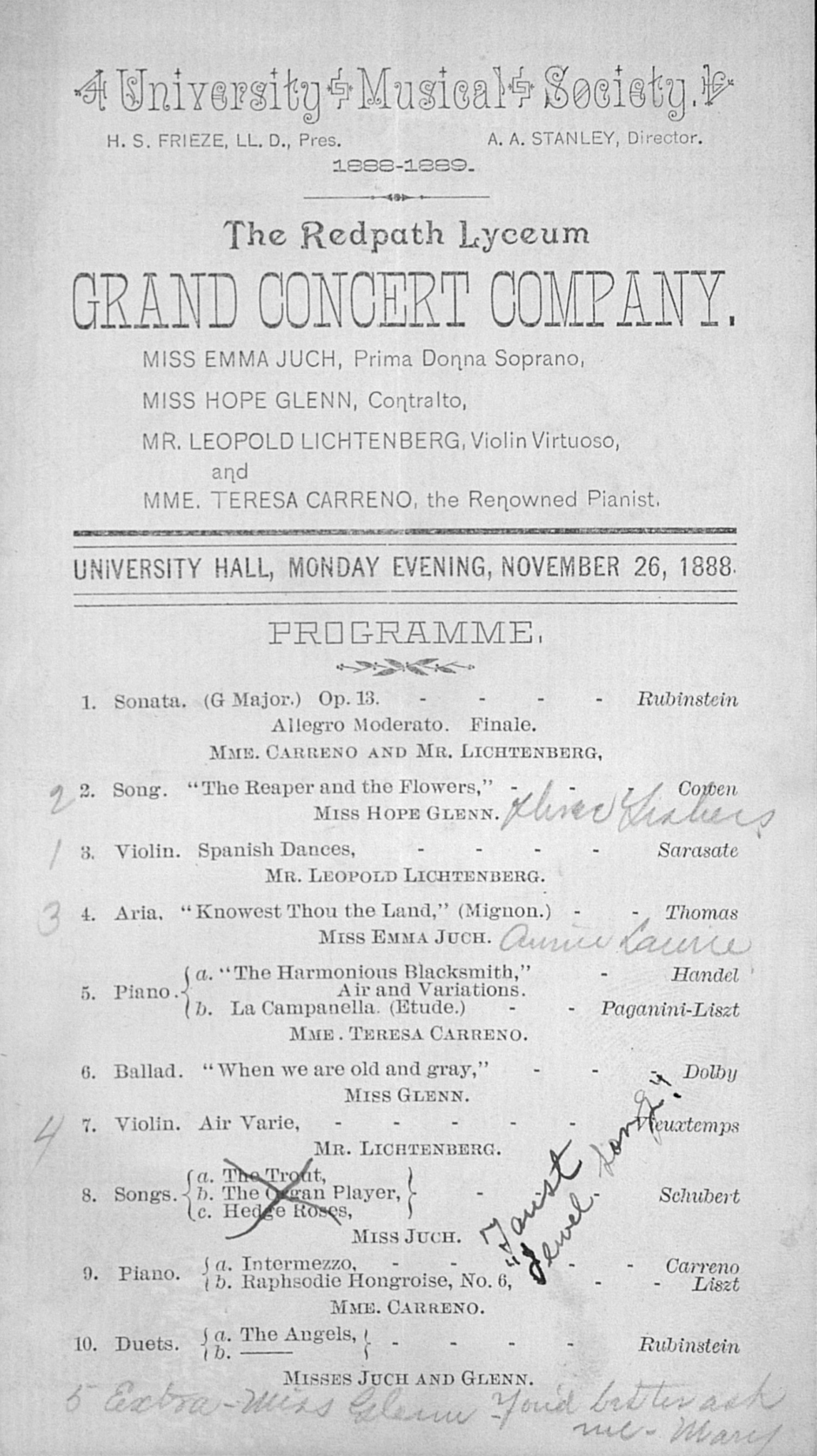 UMS Concert Program, November 26, 1888: The Redpath Lyceum Grand Concert Company  --  image