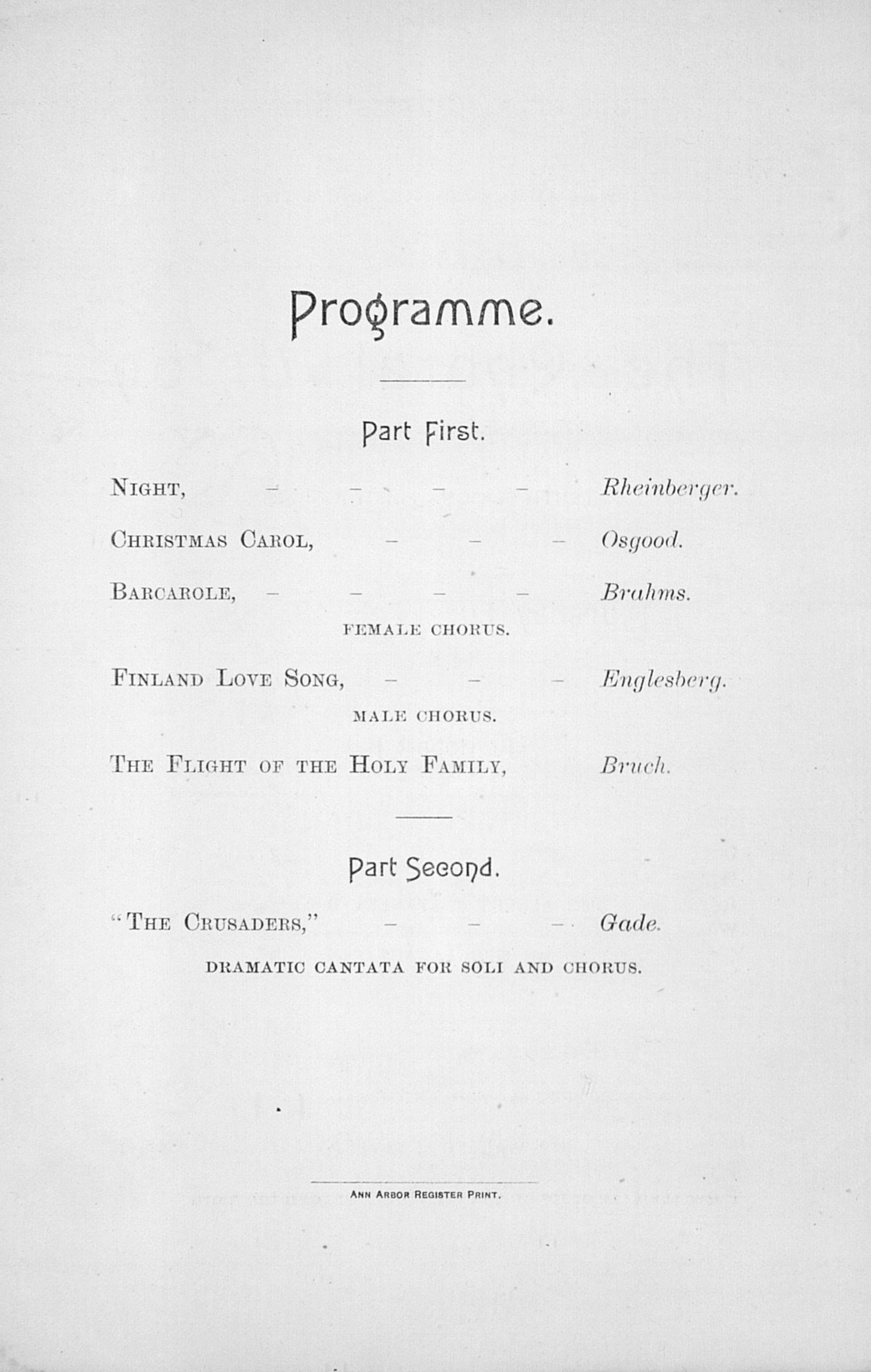 UMS Concert Program, Feb. 28, 1889: The Choral Union --  image