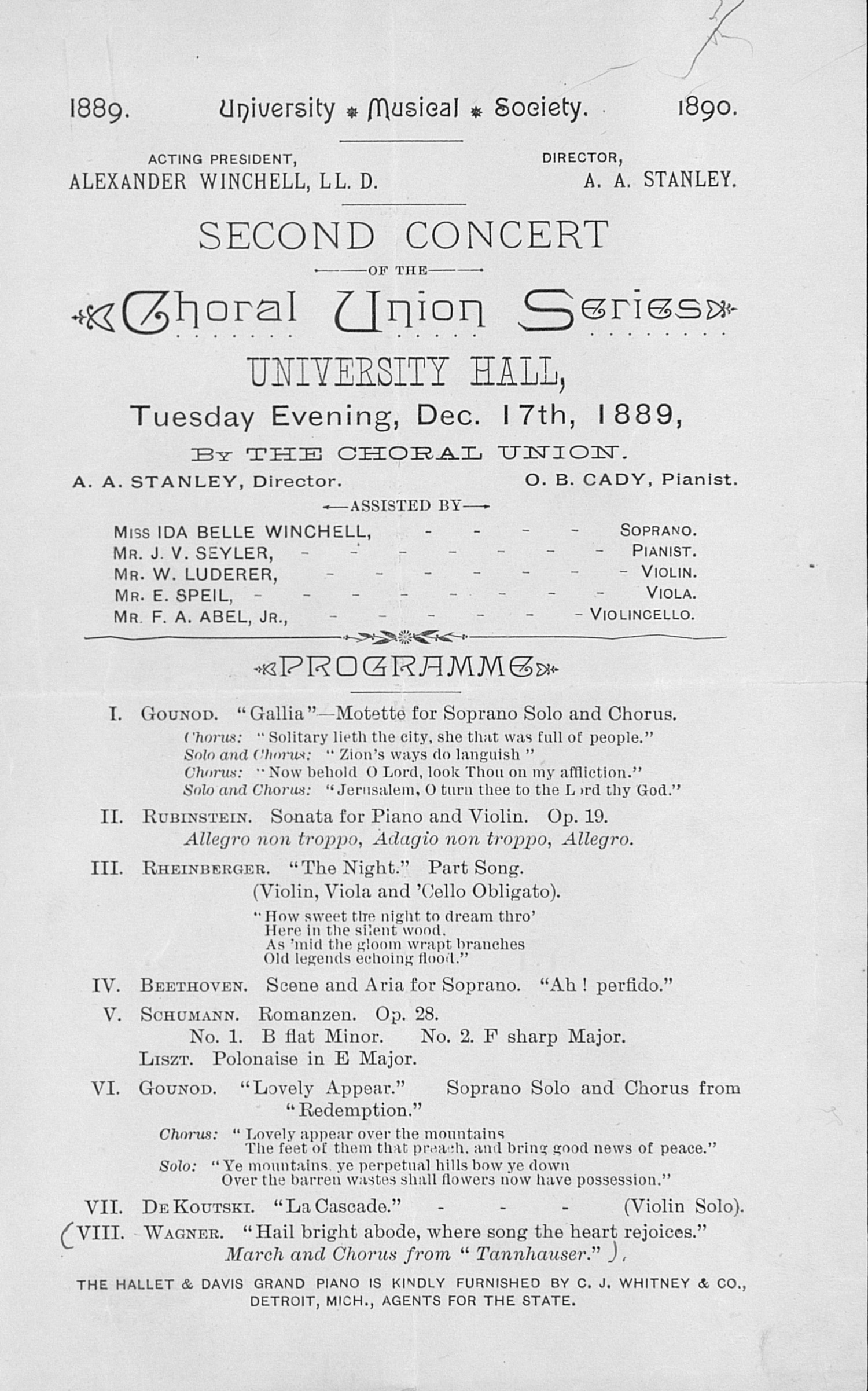 UMS Concert Program, Dec. 17th, 1889: Second Concert Of The Choral Union Series -- The Choral Union image