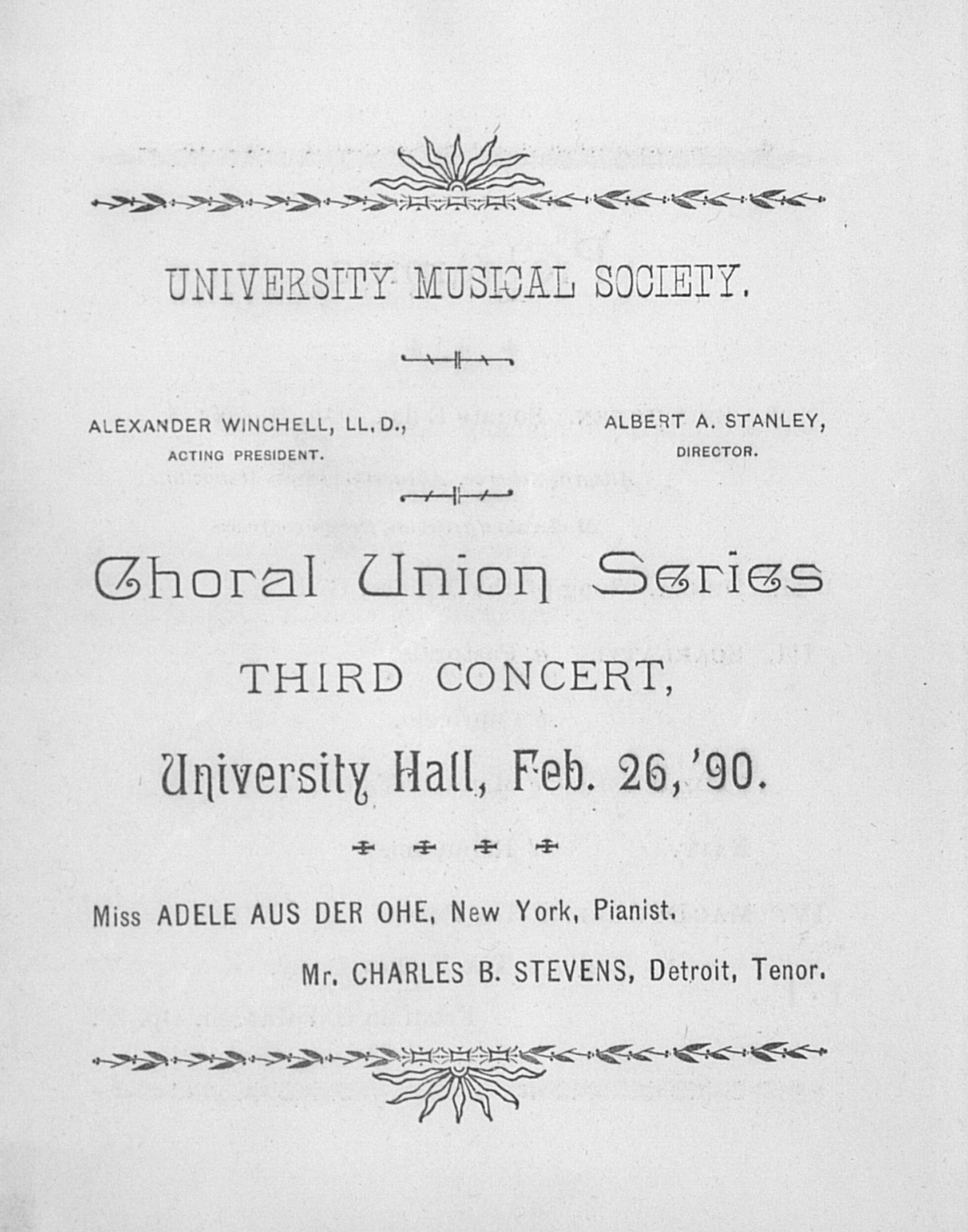 UMS Concert Program, Feb. 26,'90: Choral Union Series --  image
