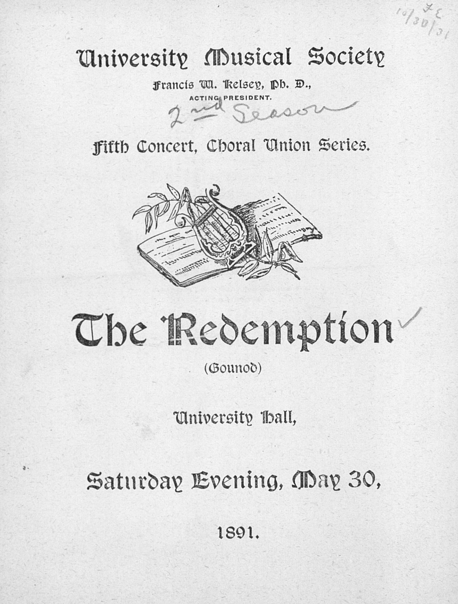 UMS Concert Program, May 30, 1891: Choral Union Series --  image