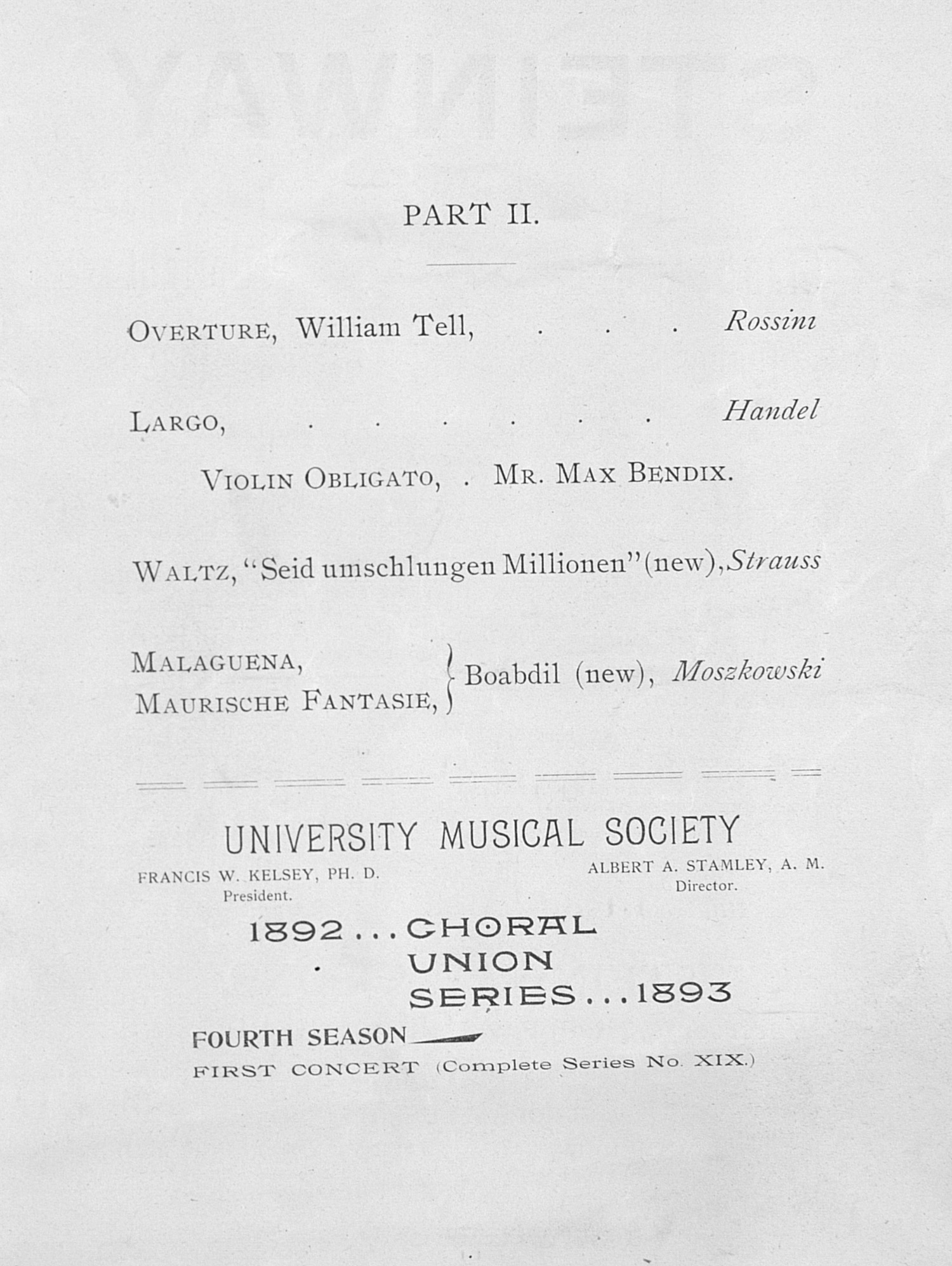UMS Concert Program, November 21, 1892: Choral Union Series -- Chicago Orchestra image