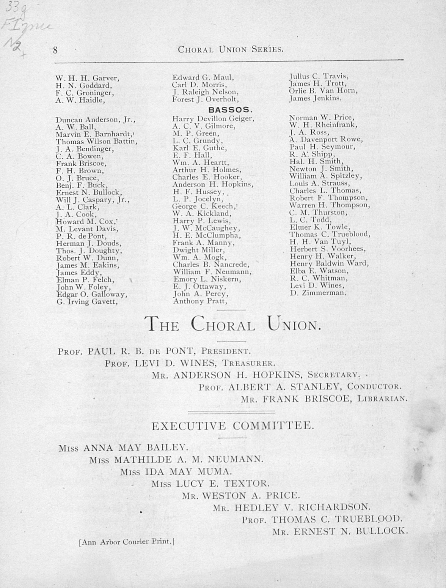 UMS Concert Program, December 21, 1892: The Messiah -- The Choral Union image