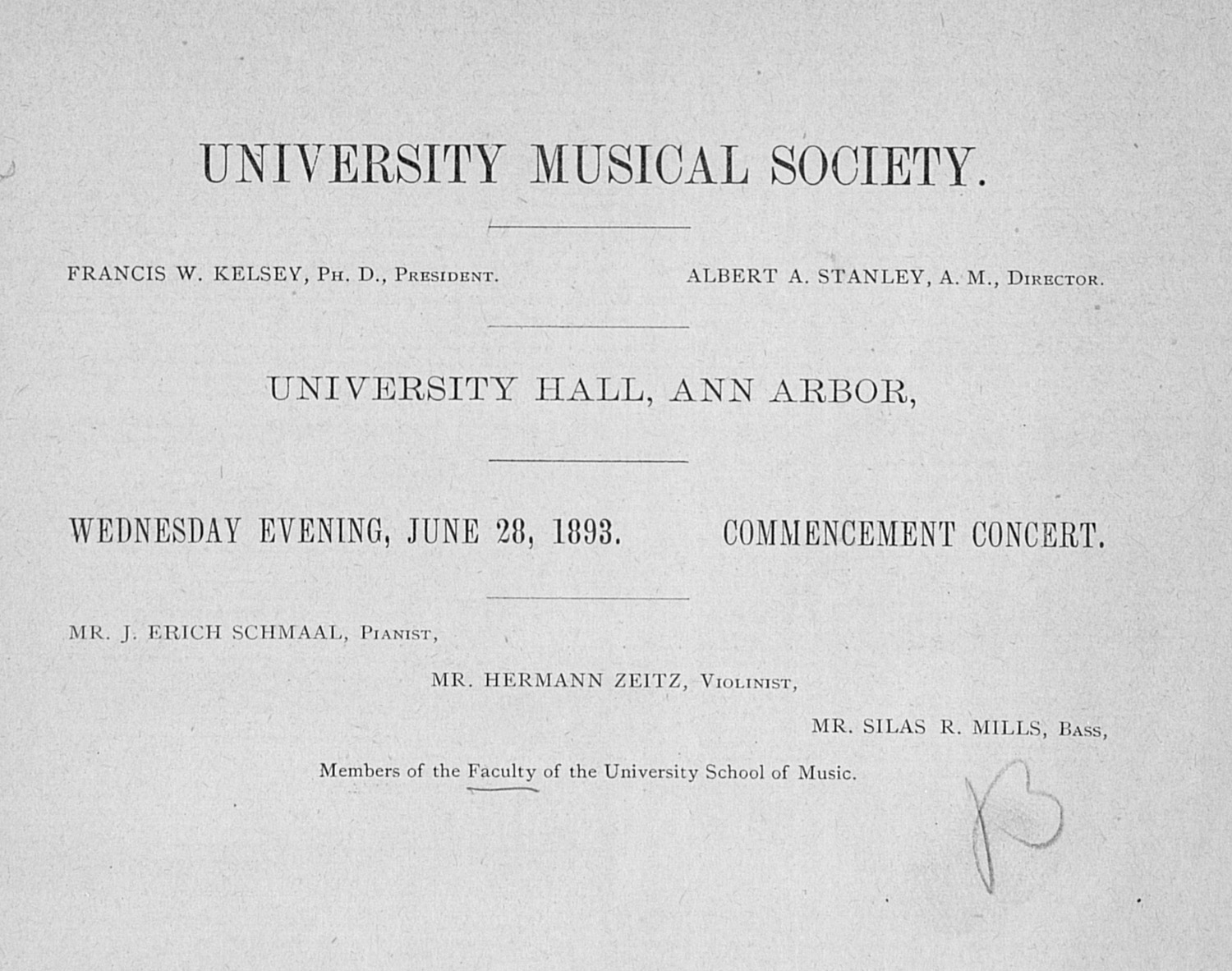 UMS Concert Program, June 28, 1893:  --  image
