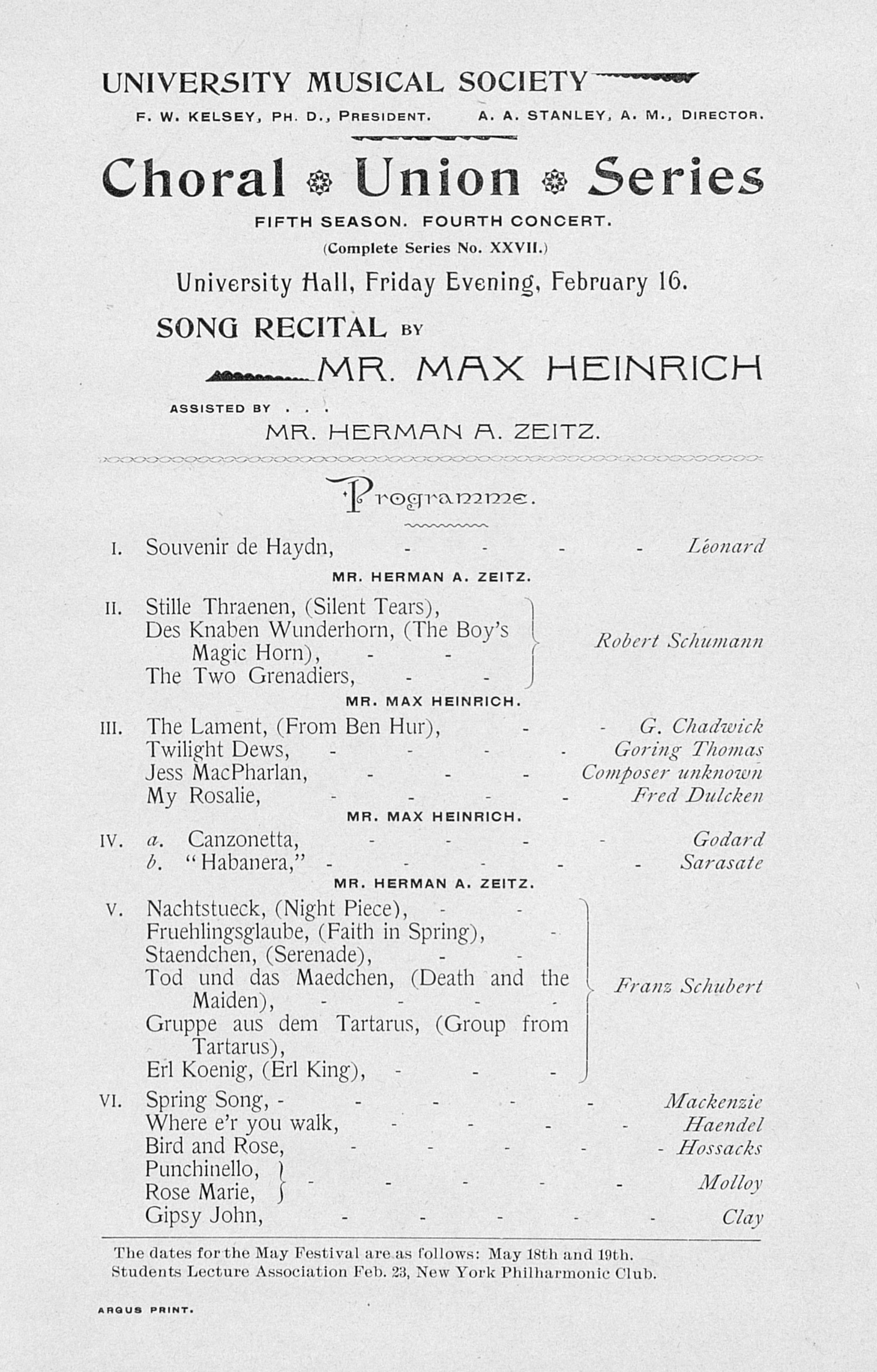 UMS Concert Program, February 16: Choral Union Series -- Mr. Max Heinrich image