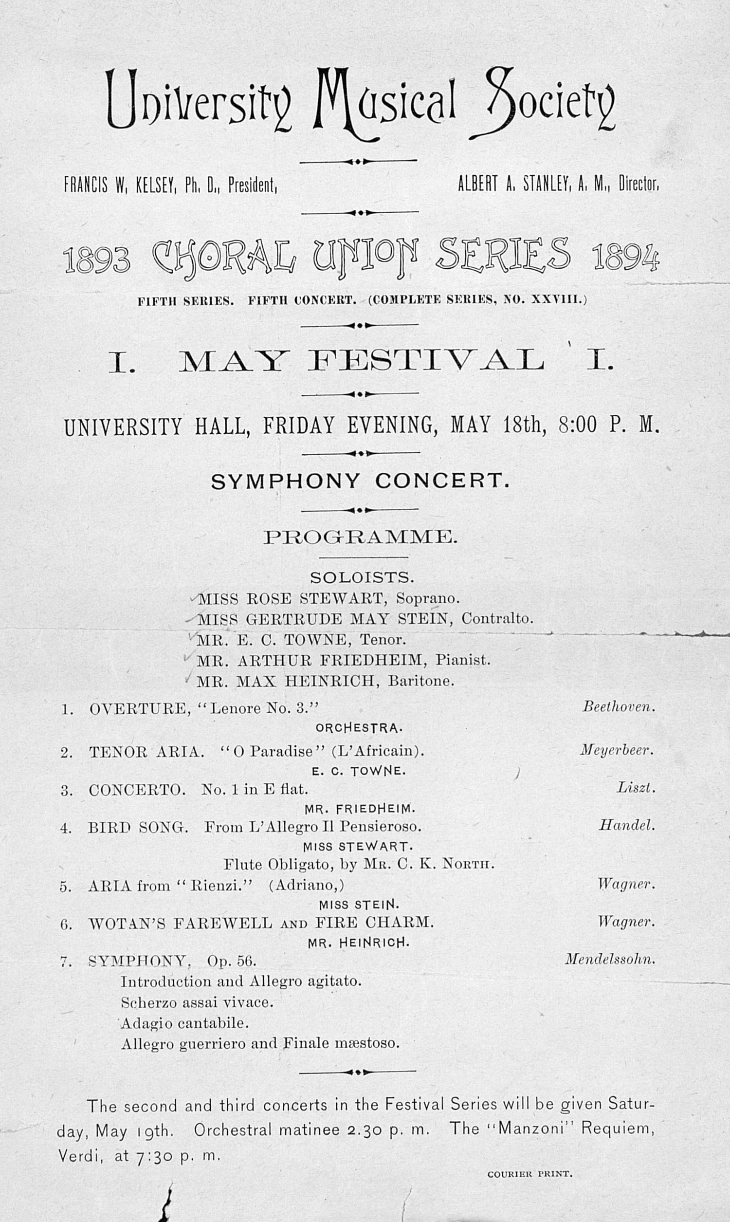 UMS Concert Program, May 18: May Festival -- Symphony Concert image