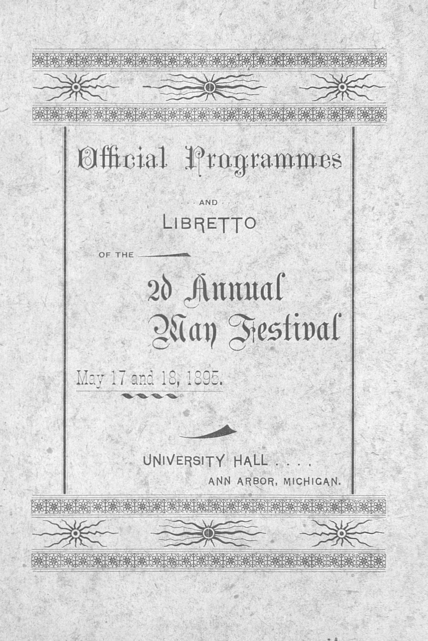 UMS Concert Program, May 17th And 18th, 1895: 2d Annual May Festival --  image